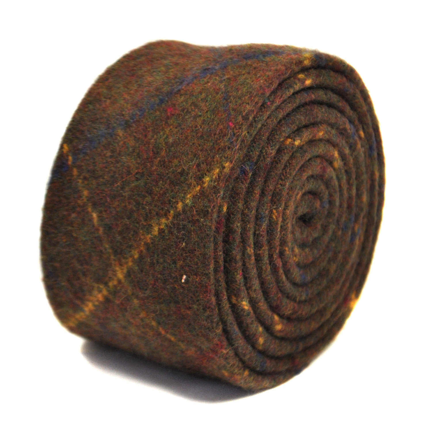 chocolate brown, blue checked 100% tweed wool tie by Frederick Thomas FT2143