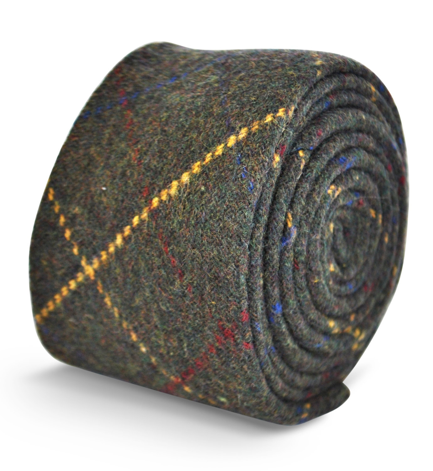 dark green with red and yellow check 100% tweed wool tie by Frederick Thomas FT3