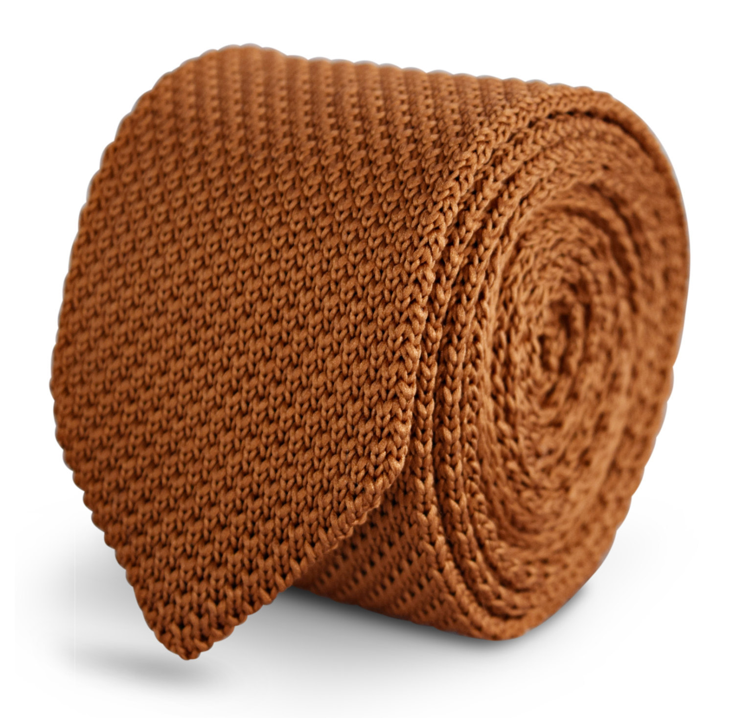 light chocolate brown knitted skinny tie with pointed end by Frederick Thomas FT
