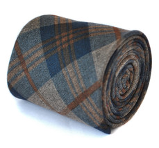 slim navy and brown 100% wool tweed check tie by Frederick Thomas FT2082