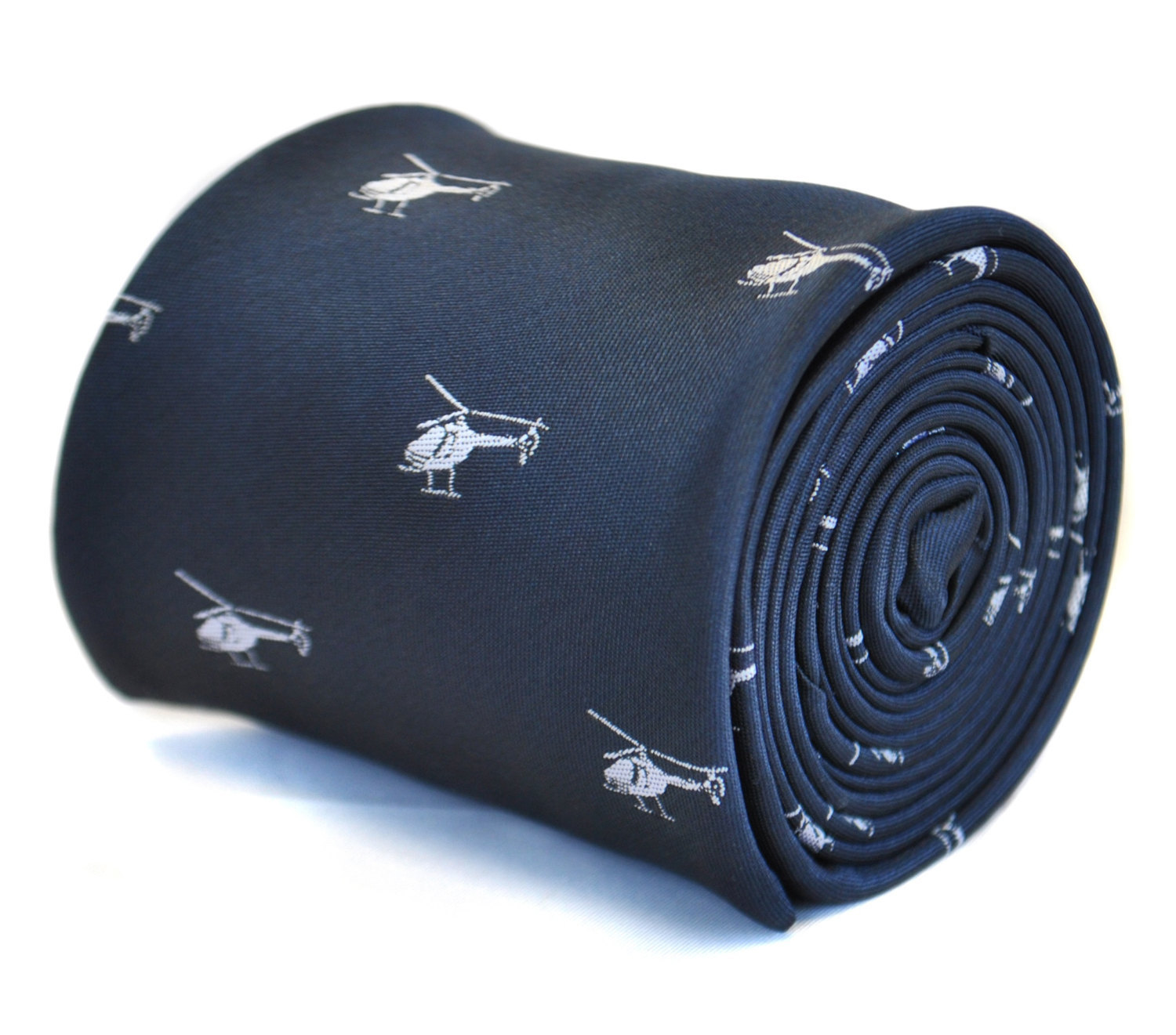 navy blue tie with helicopter design with signature floral design to the rear by