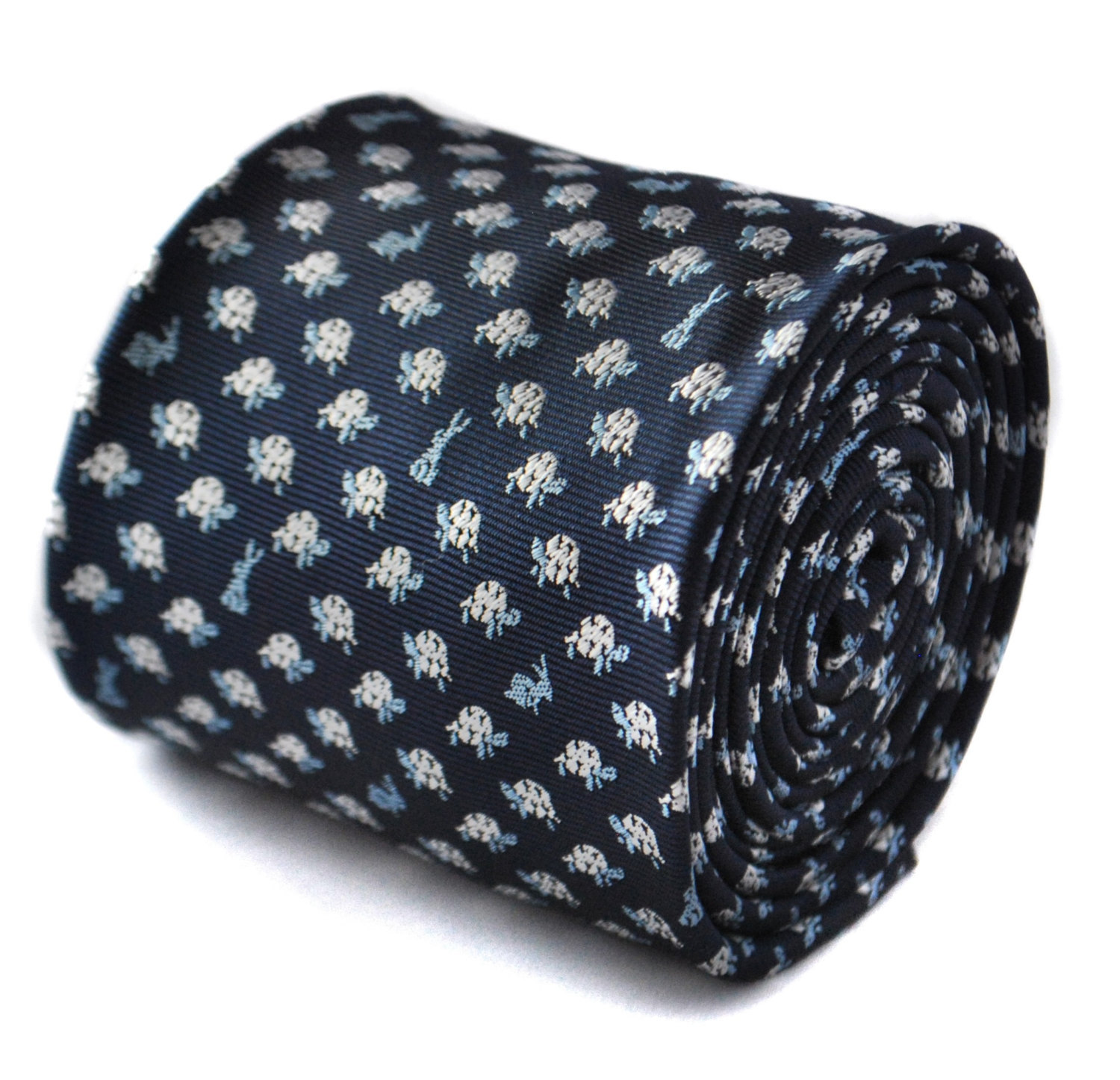 navy tie with hare and tortoise embroidered design with floral design to the rea