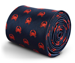navy tie with crab embroidered design with signature floral design to the rear b