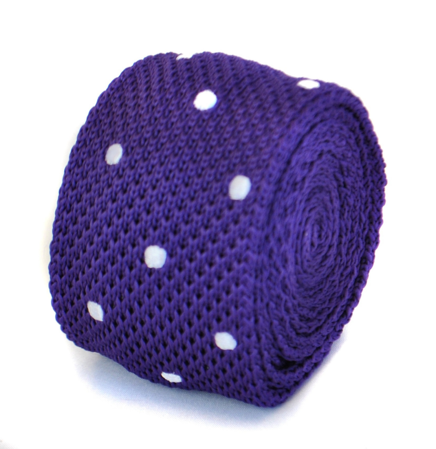 cadbury purple and white polka spot knitted tie by Frederick Thomas FT1850
