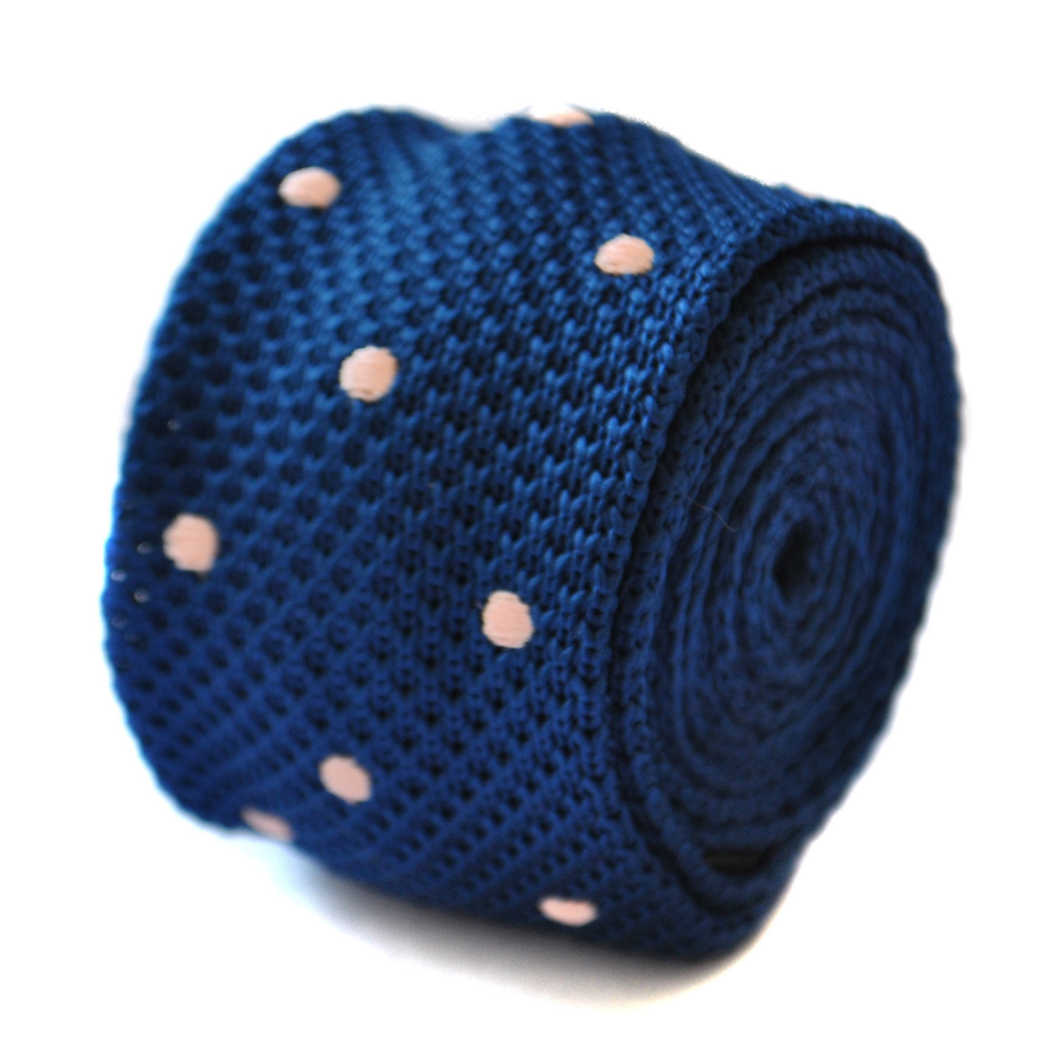 skinny knitted navy blue and pink polka spot tie by Frederick Thomas FT1892