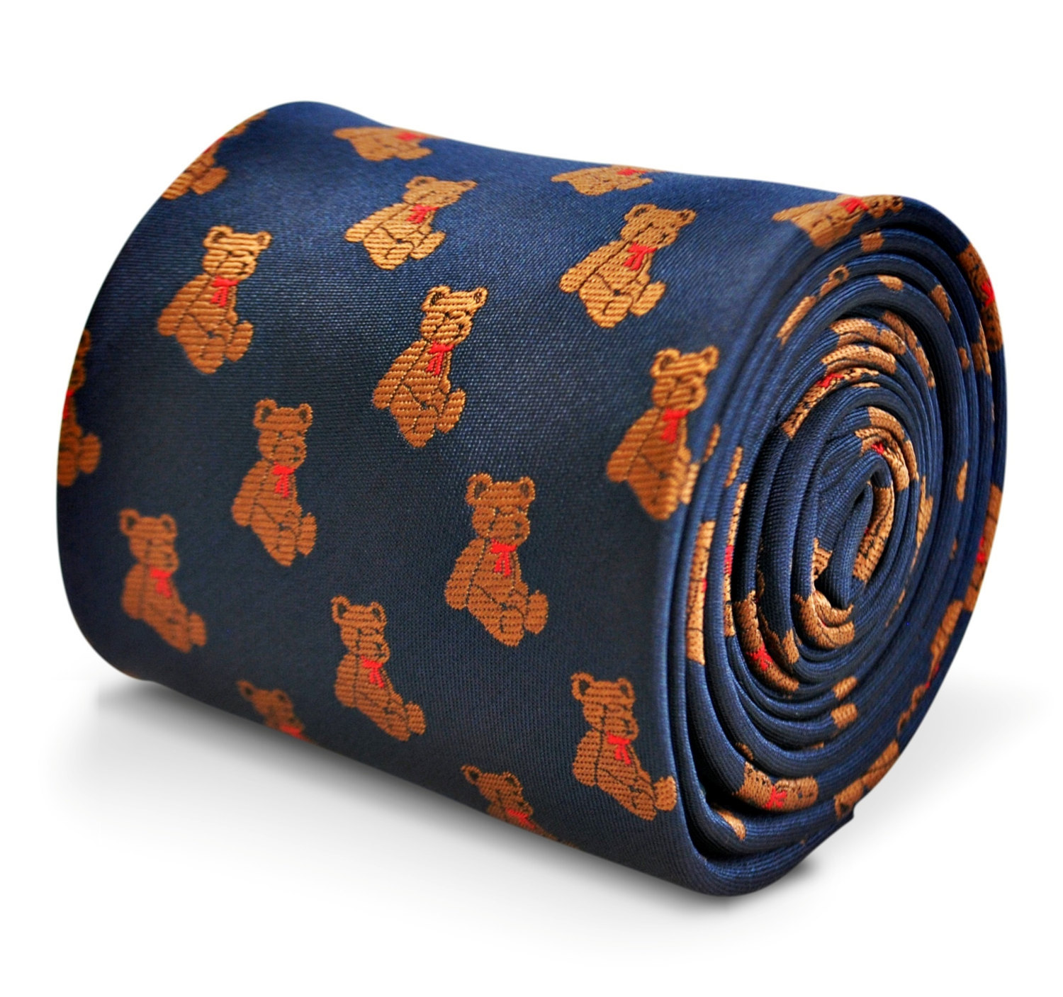 navy tie with teddy bear embroidered design with signature floral design to the