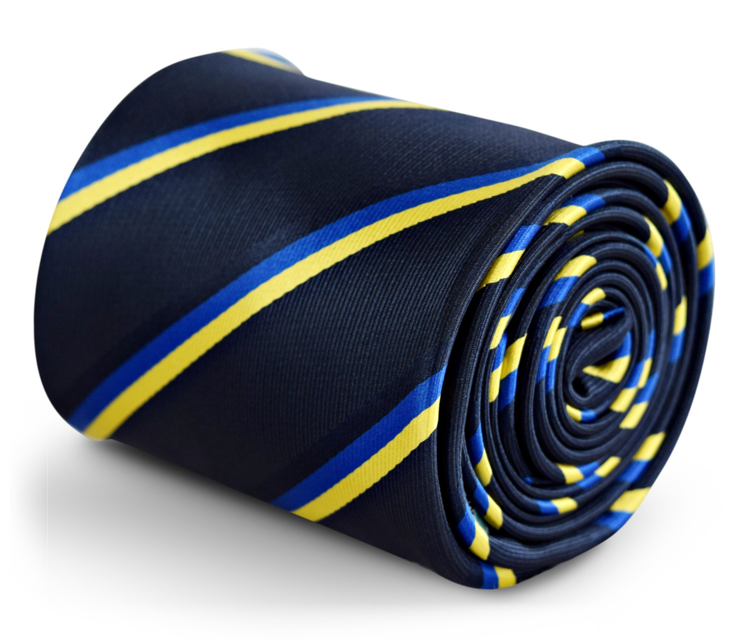 navy tie with Ukraine flag royal blue and yellow gold stripe with signature flor