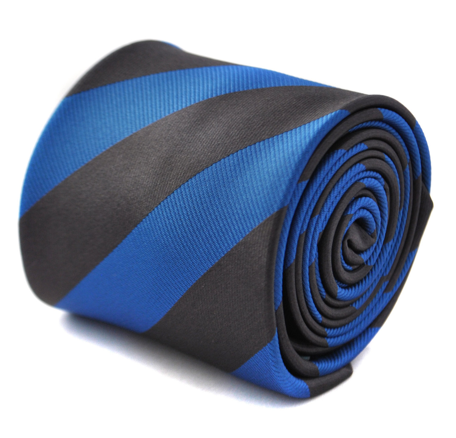 Dark grey and royal blue barber striped tie with signature floral design to the