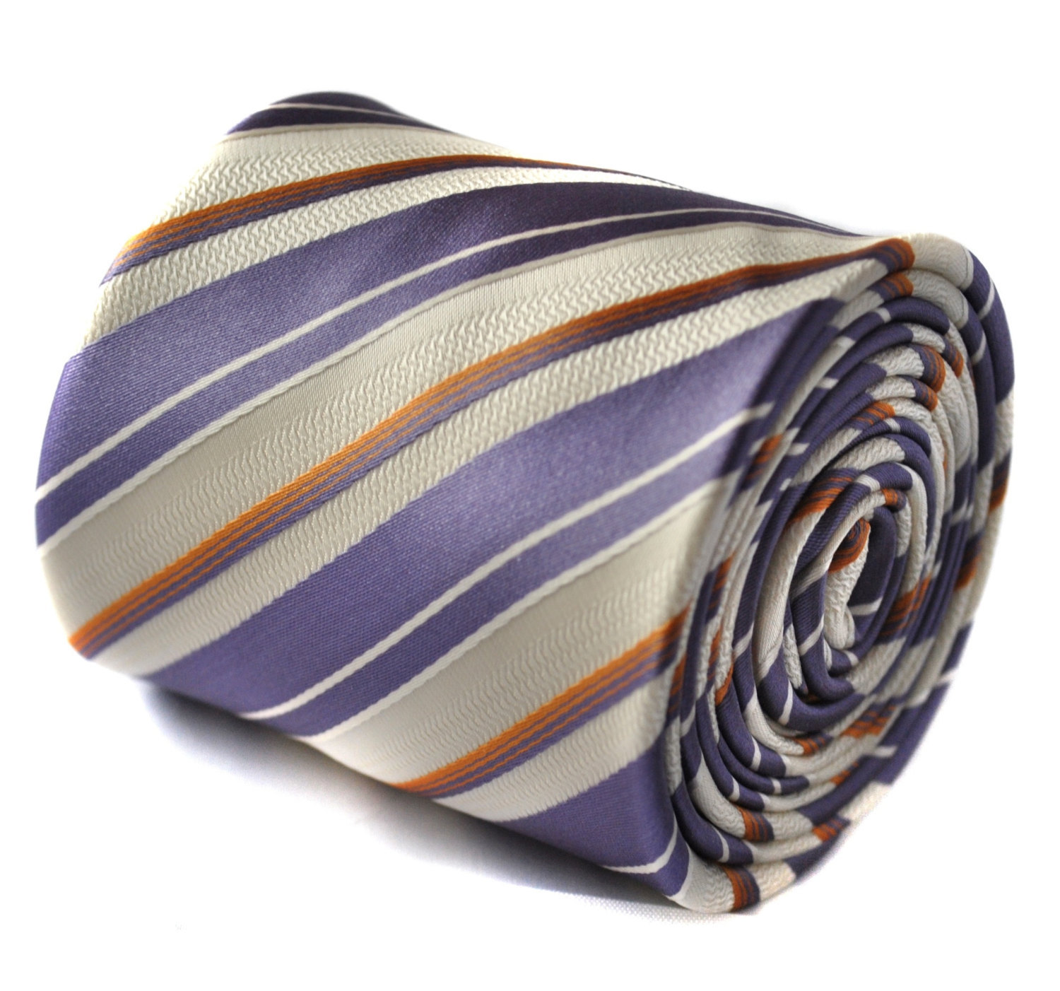 ivory, purple and orange striped tie with signature floral design to the rear by
