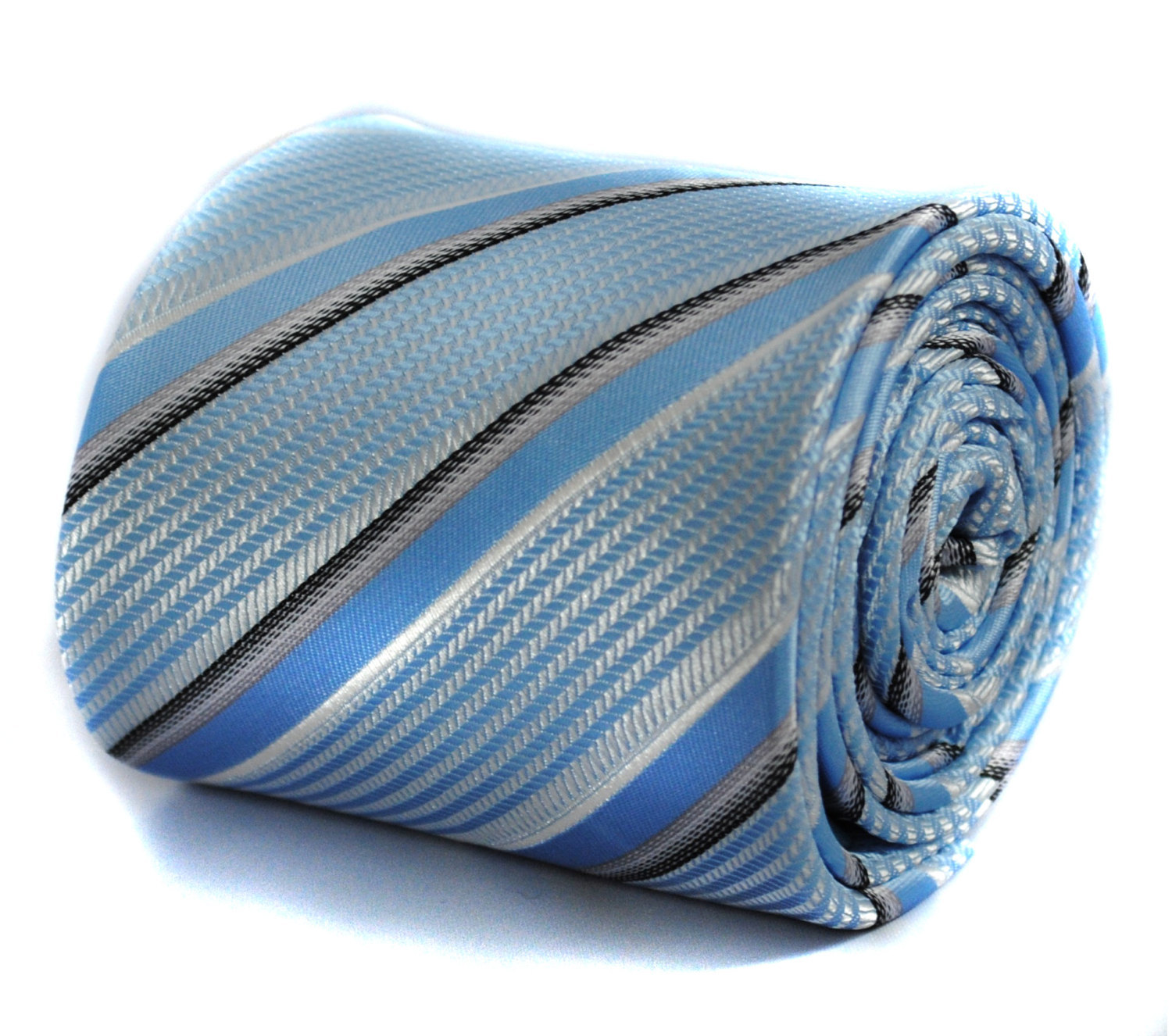 blue striped tie with floral design to the rear by Frederick Thomas FT214