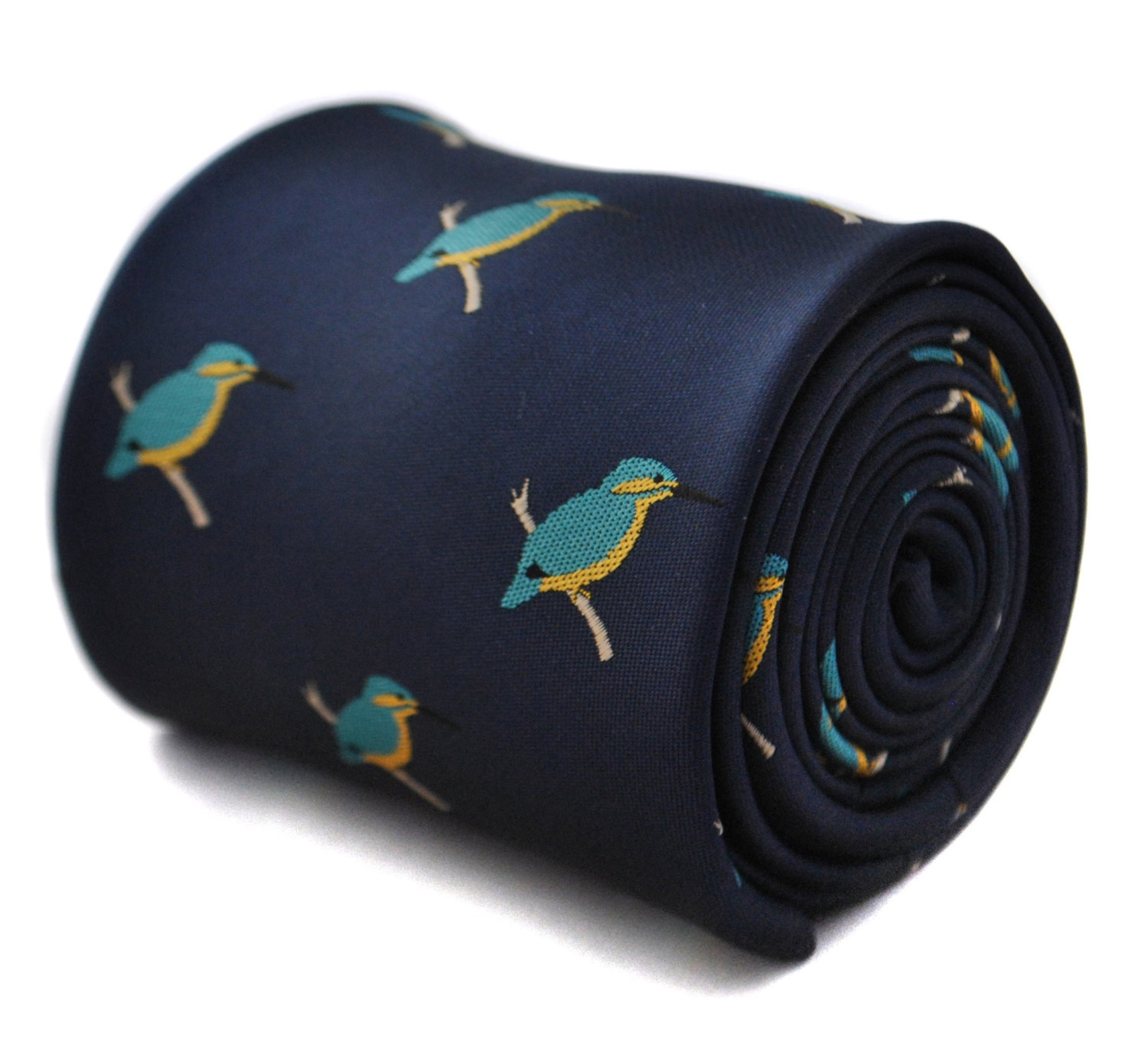 Navy tie with kingfisher design with signature floral design to the rear by Fred
