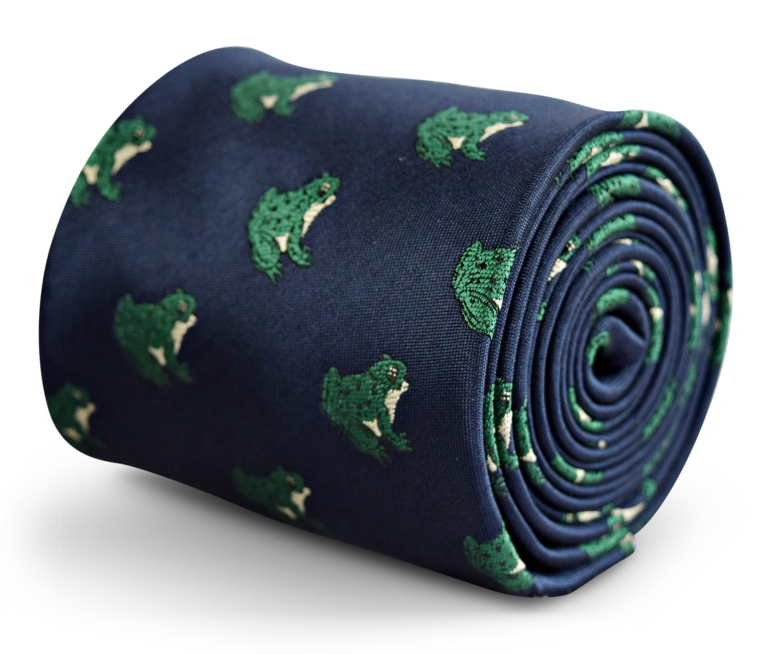 navy tie with green frog embroidered design with signature floral design to the