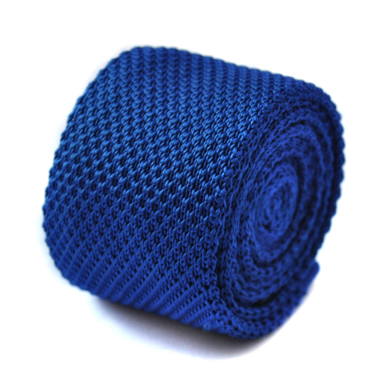 Knitted plain royal blue tie with pointed end by Frederick Thomas FT261