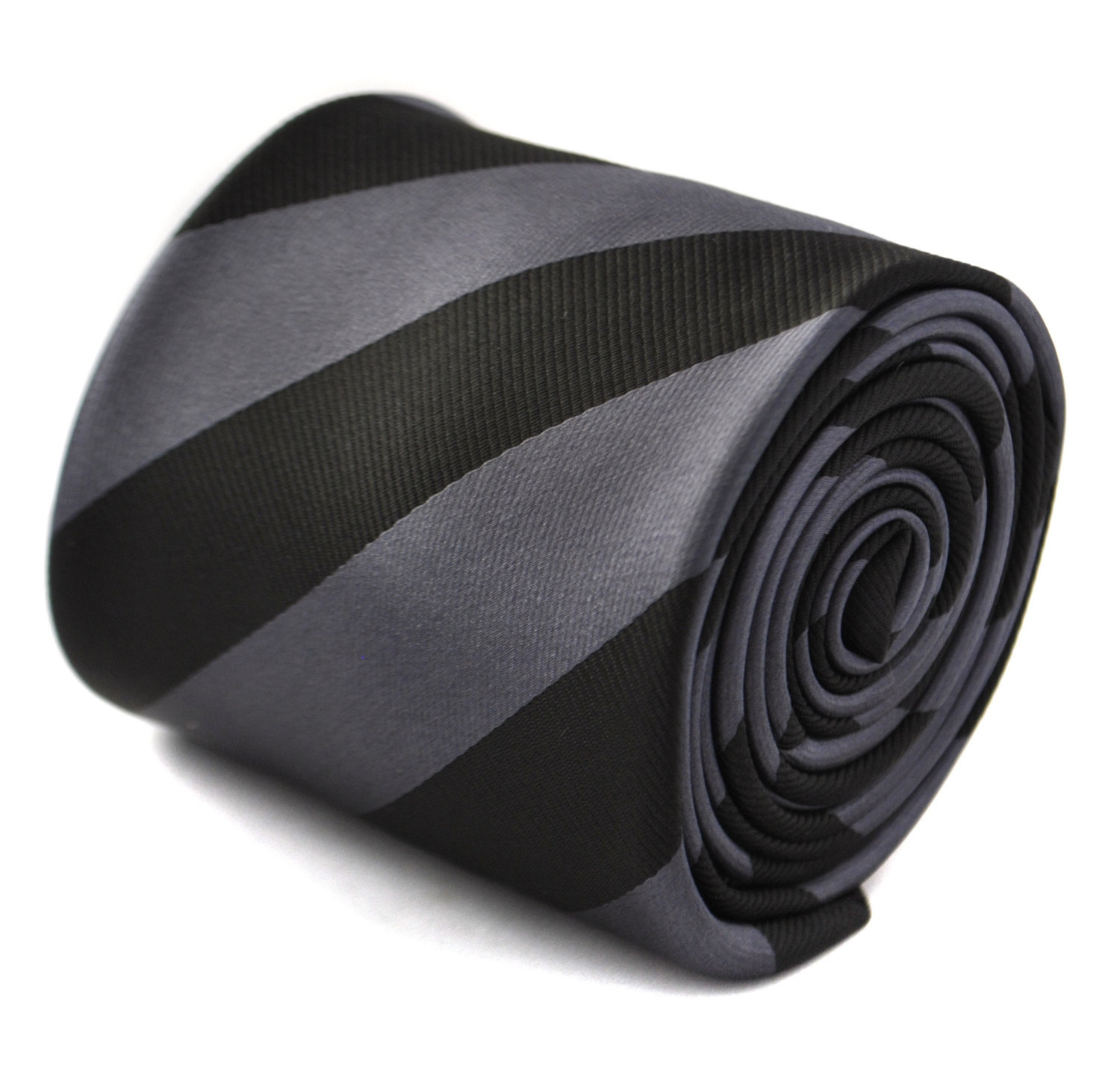 Grey and black barber striped tie with signature floral design to the rear by Fr
