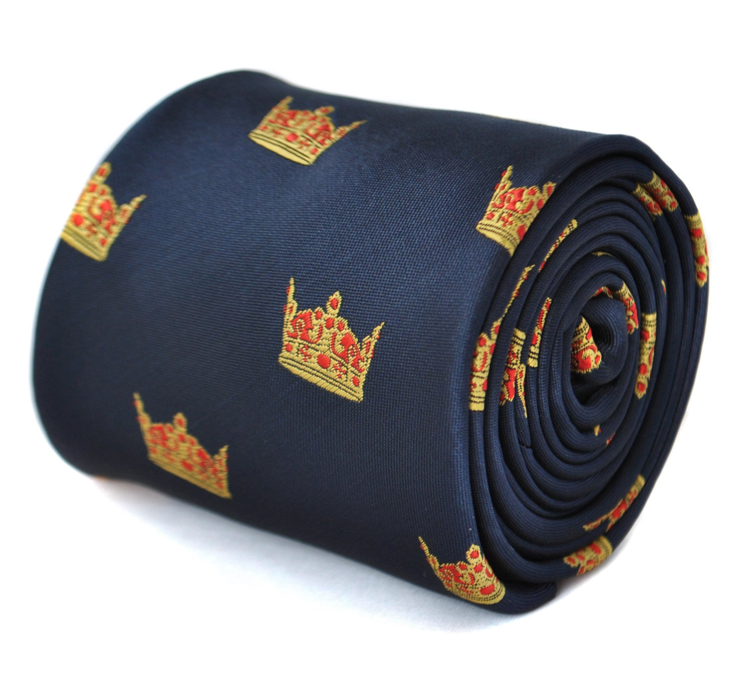 navy tie with crown design by Frederick Thomas FT1877