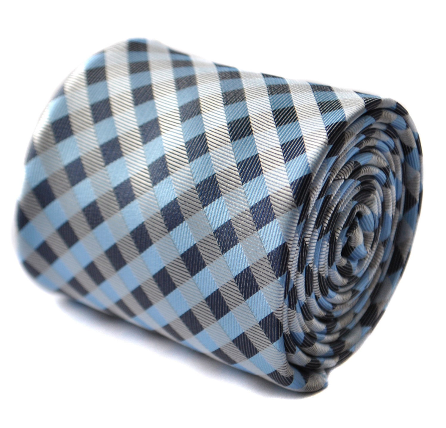 Light blue, grey and white check tie with signature floral design to the rear by