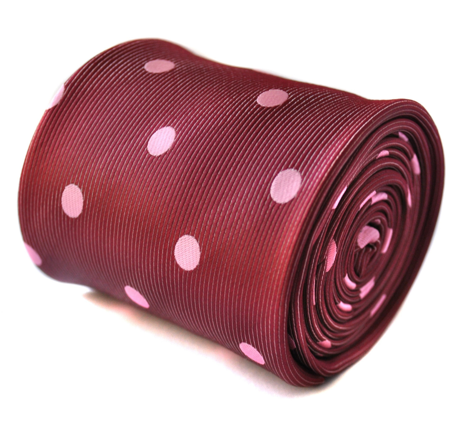 maroon and pink polka spot tie with signature floral design to the rear by Frede