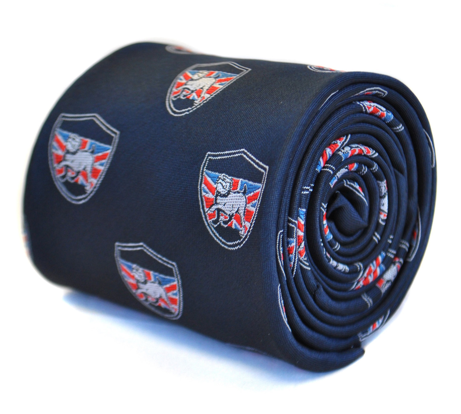navy blue tie with british bulldog and flag crest design with signature floral d