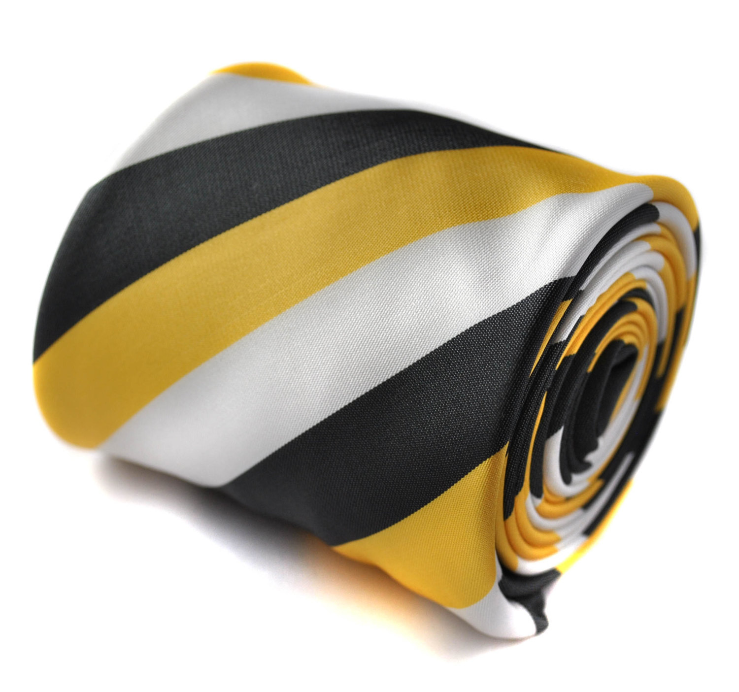 black, yellow and white striped tie with signature floral design to the rear by