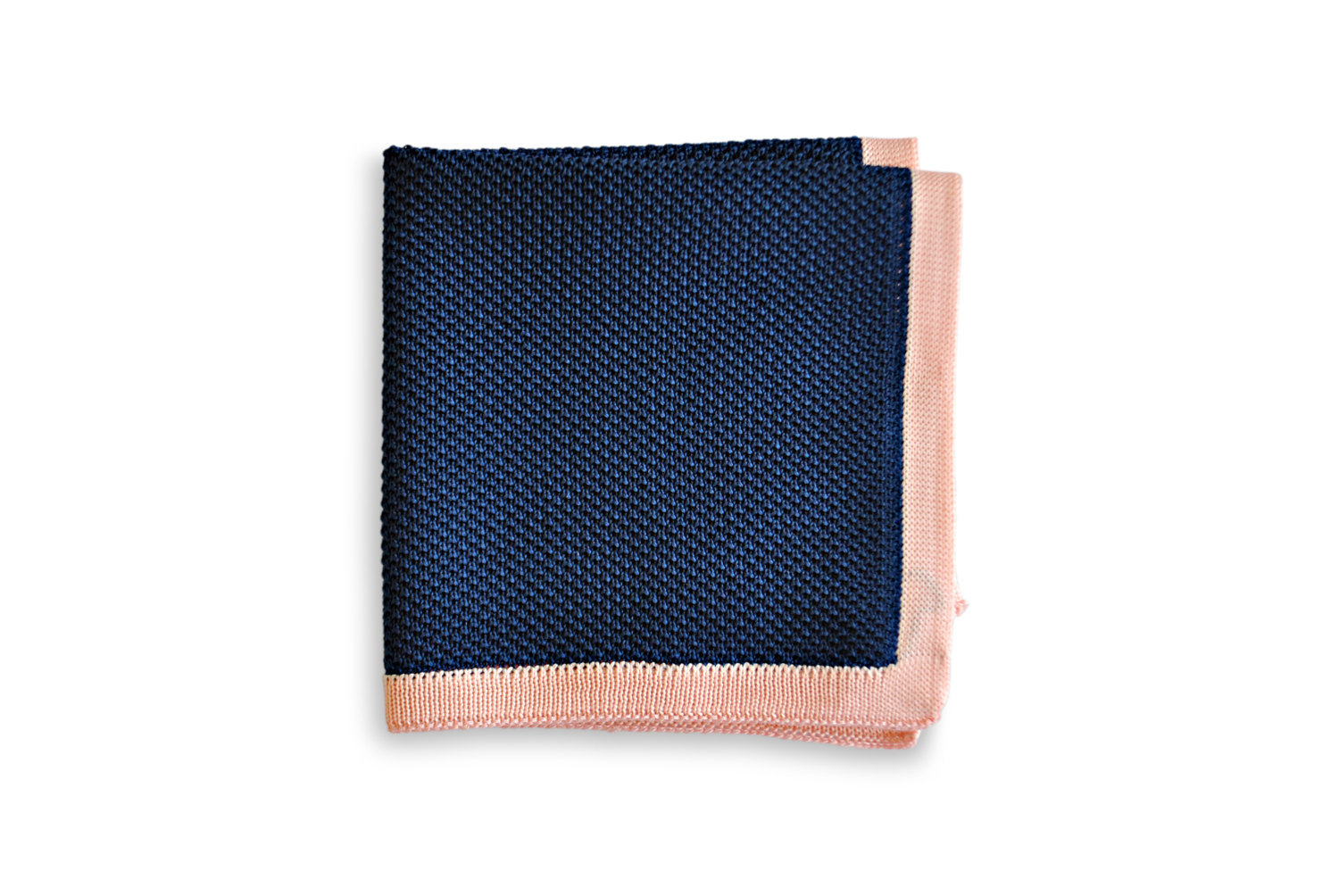 Frederick Thomas knitted Navy Blue with Pink Edging pocket square FT3165