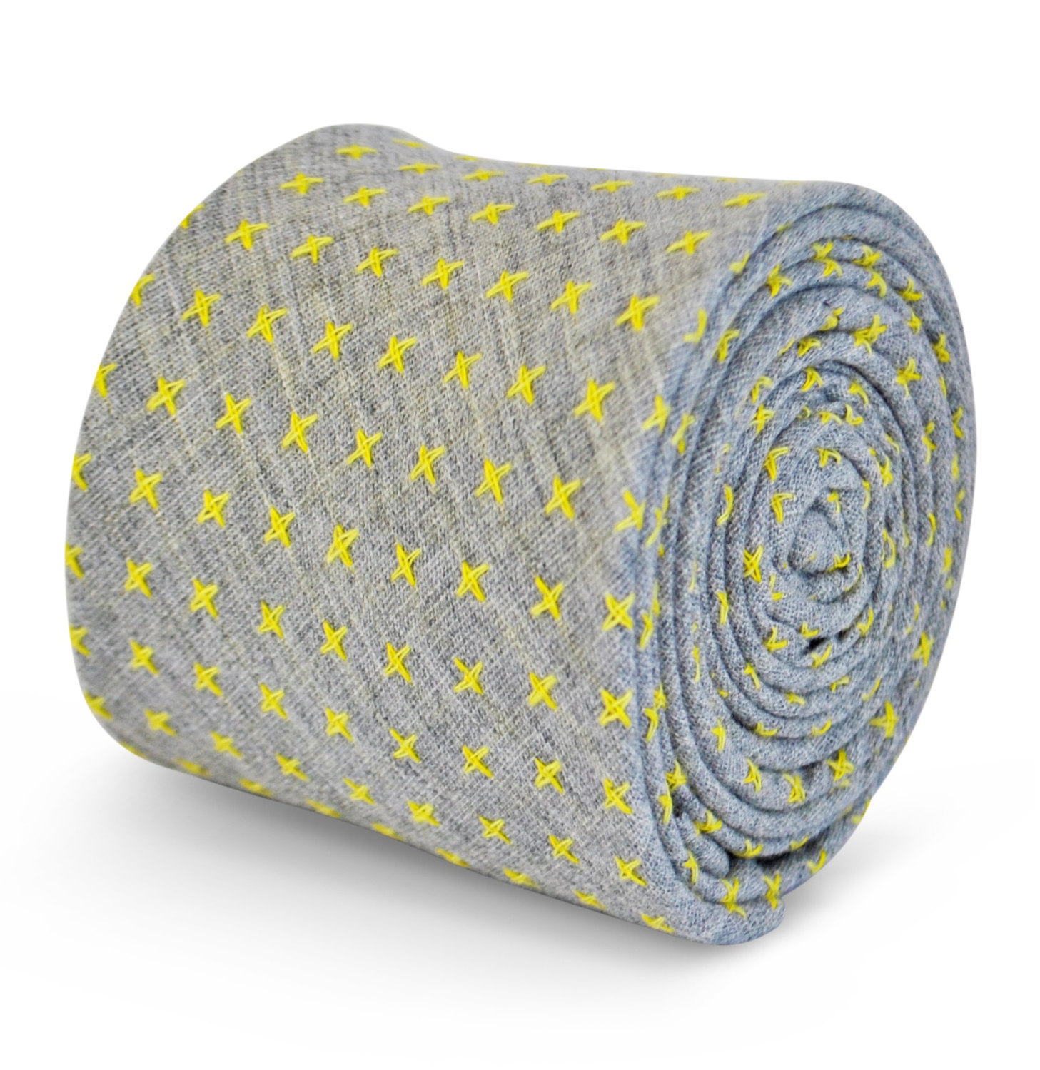 Frederick Thomas 100% cotton tie in grey with yellow cross pattern FT3108