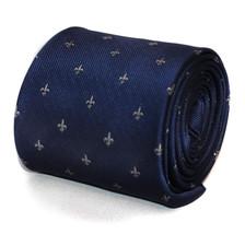 navy blue tie with fleur de lis (lys) design with signature floral design to rea