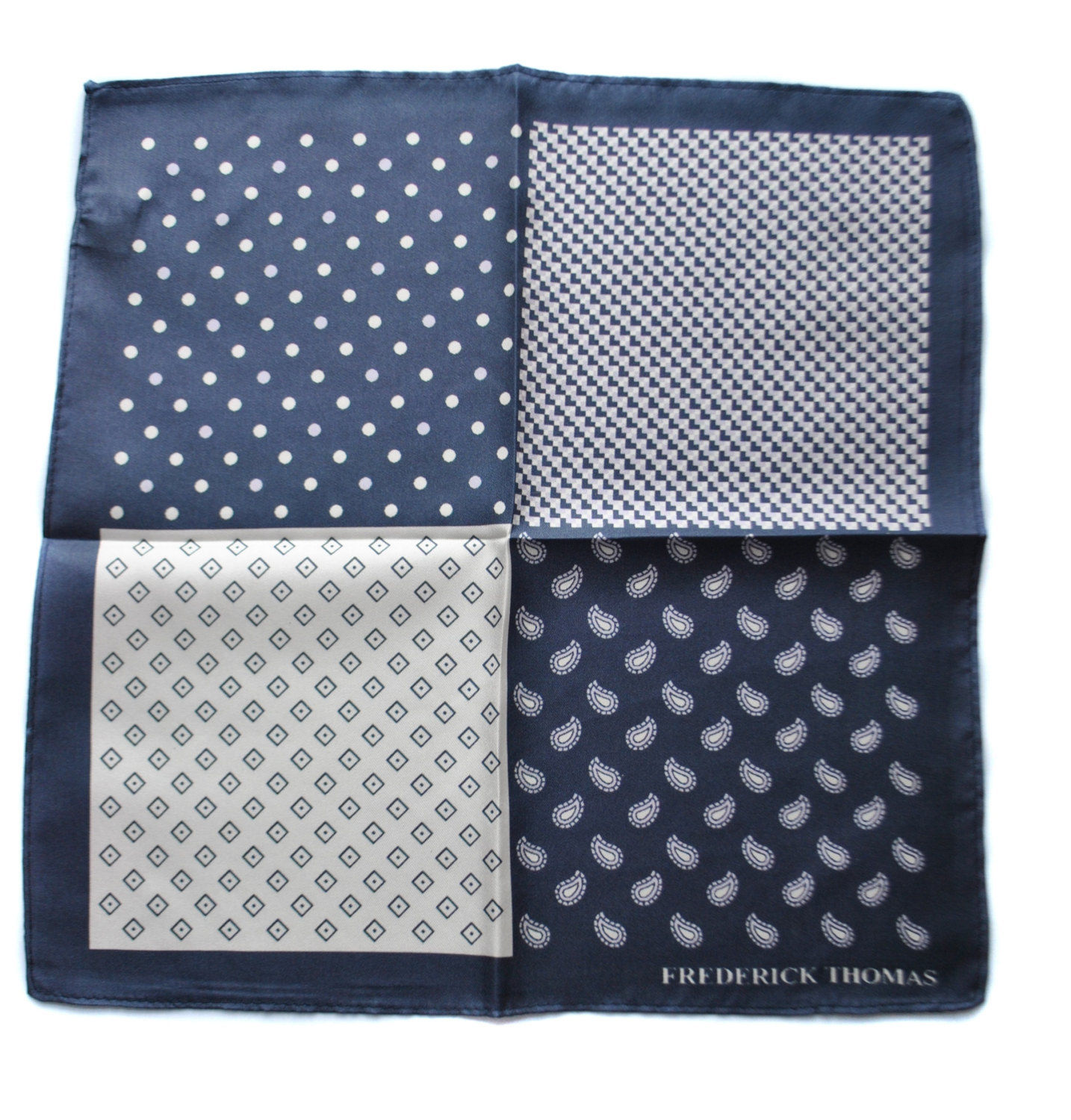 Frederick Thomas navy patterned four corner pocket square with navy edging FT166