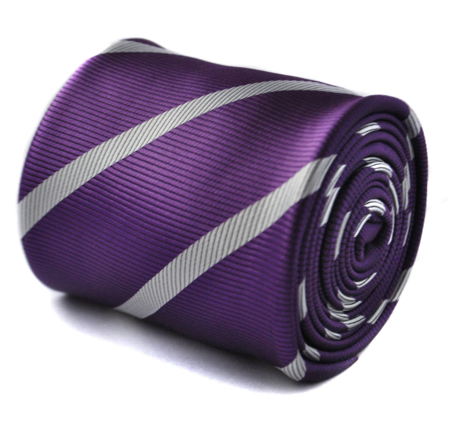 cadbury purple and white club striped tie with floral design to the rear by Fred