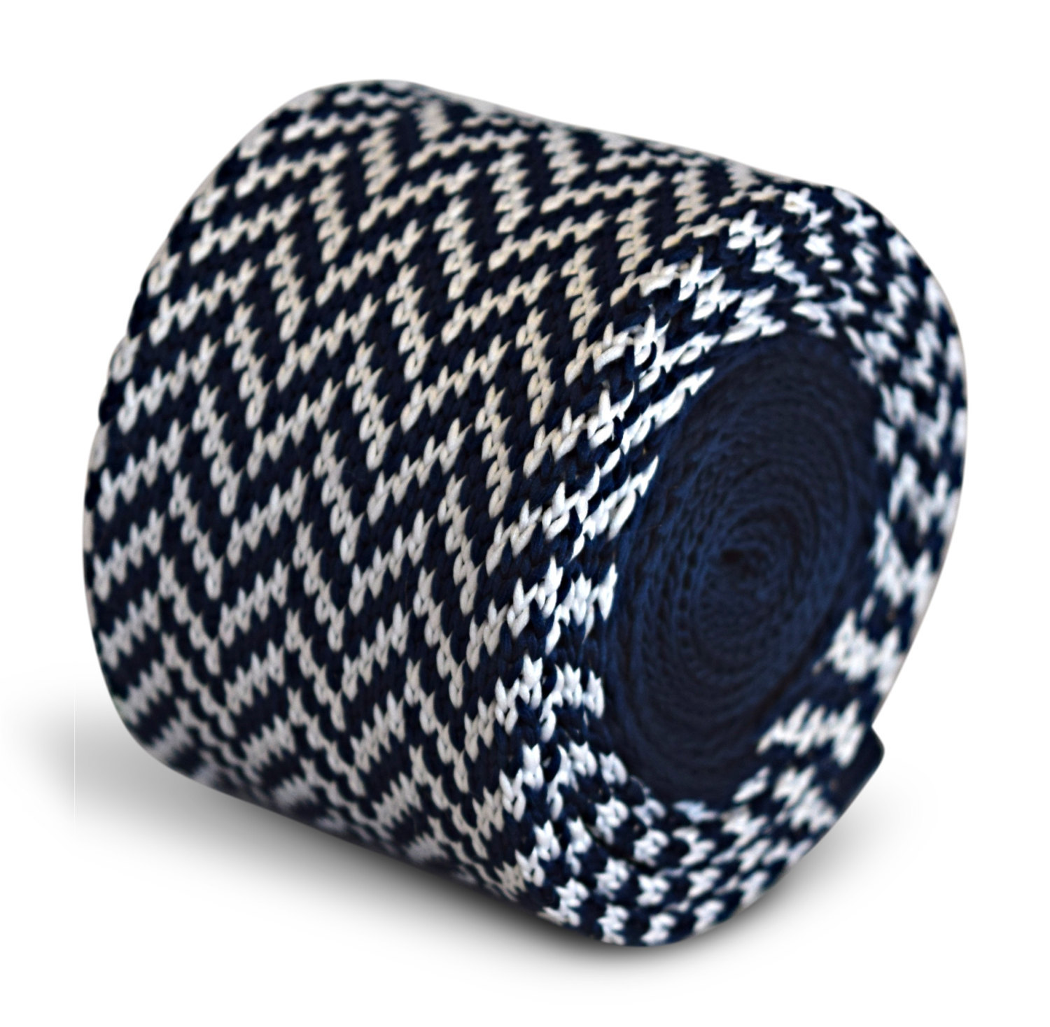 navy blue and white herringbone knitted skinny tie by Frederick Thomas FT3292