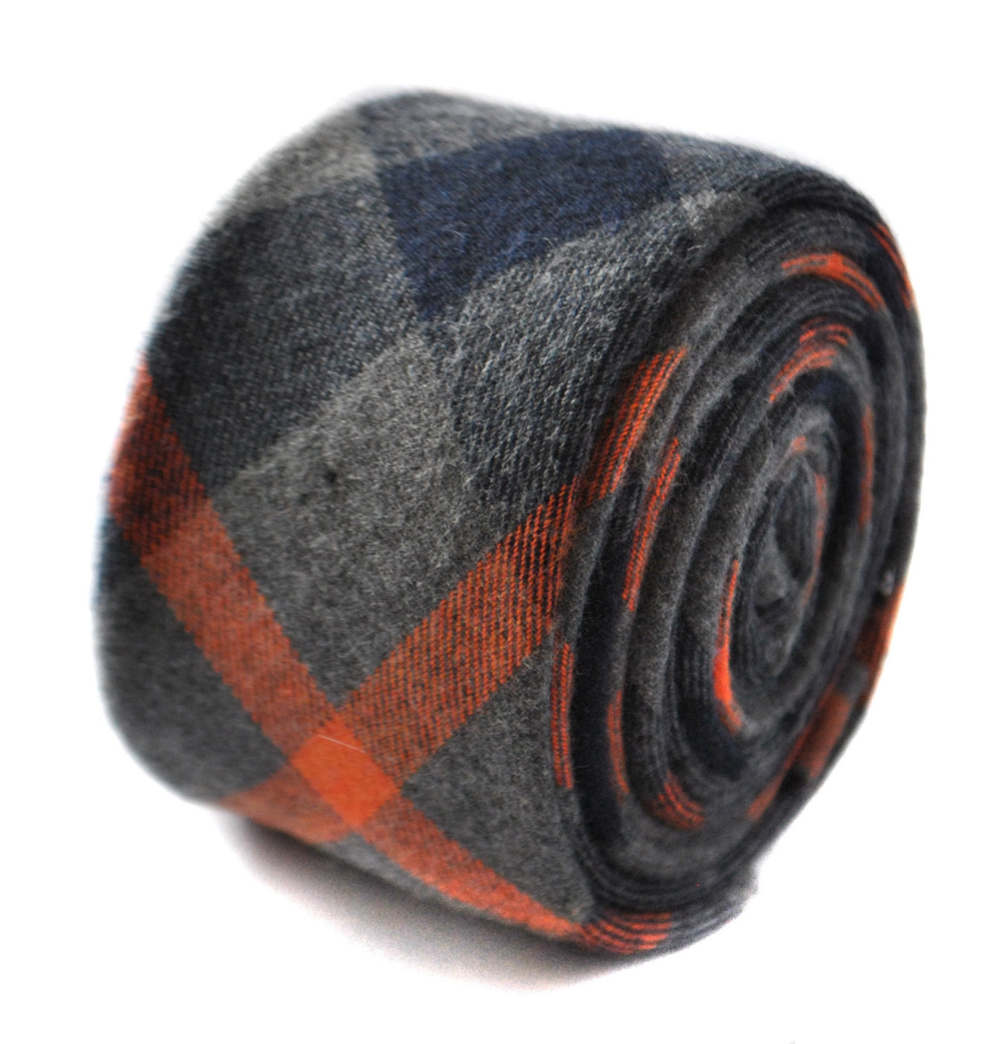 orange and grey wool check plaid style tie by Frederick Thomas FT1817