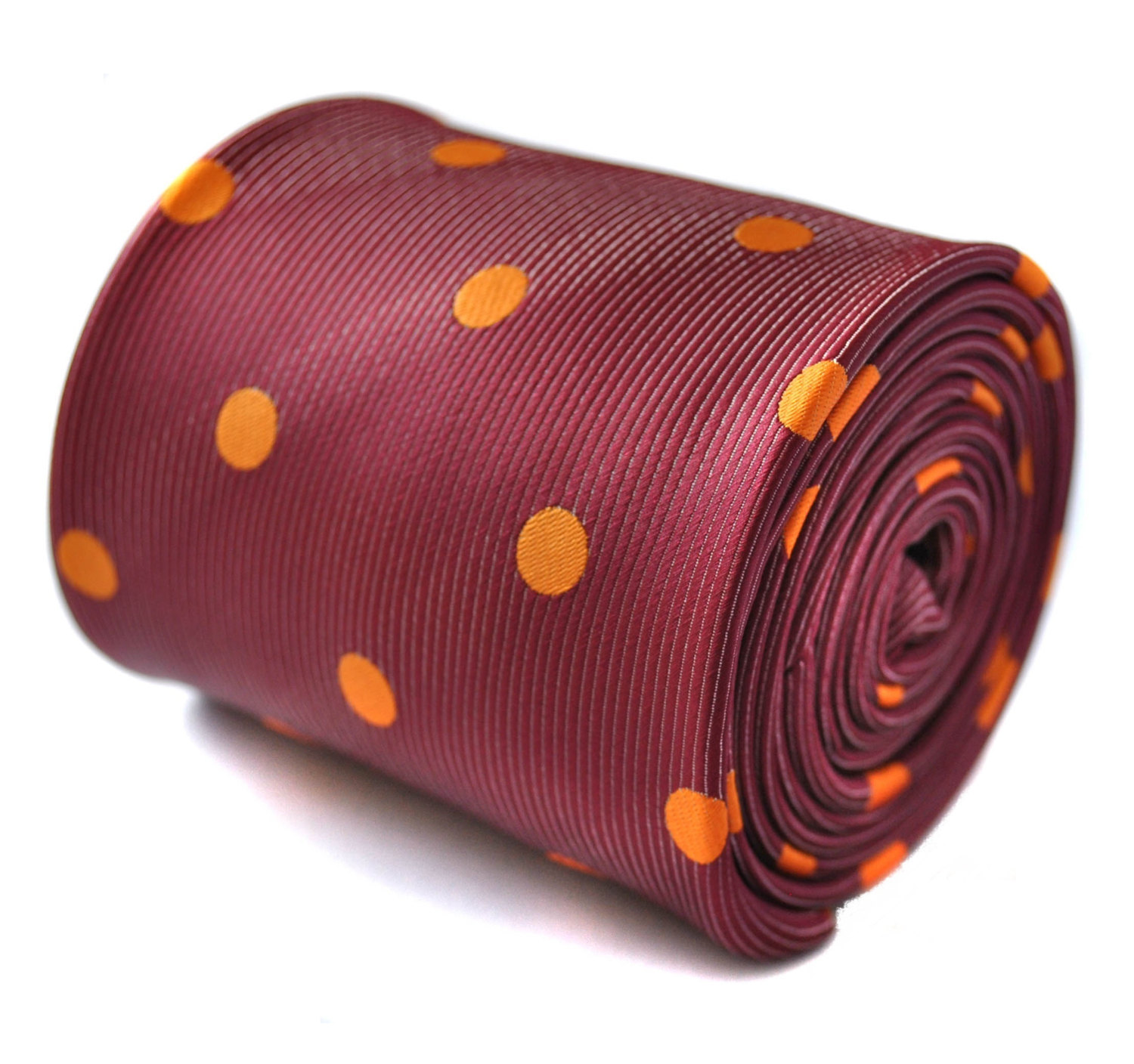 maroon and orange polka spot tie with signature floral design to the rear by Fre