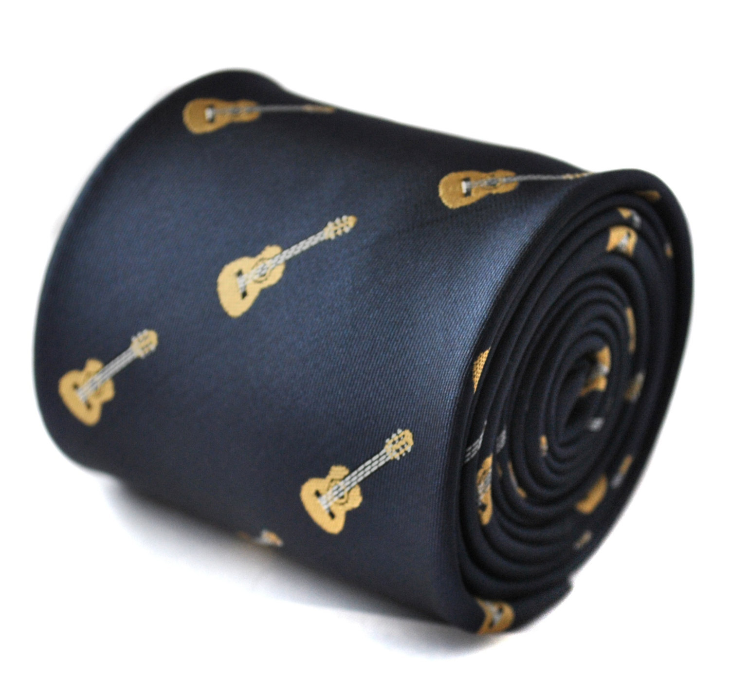 navy tie with acoustic guitar embroidered design with signature floral design to