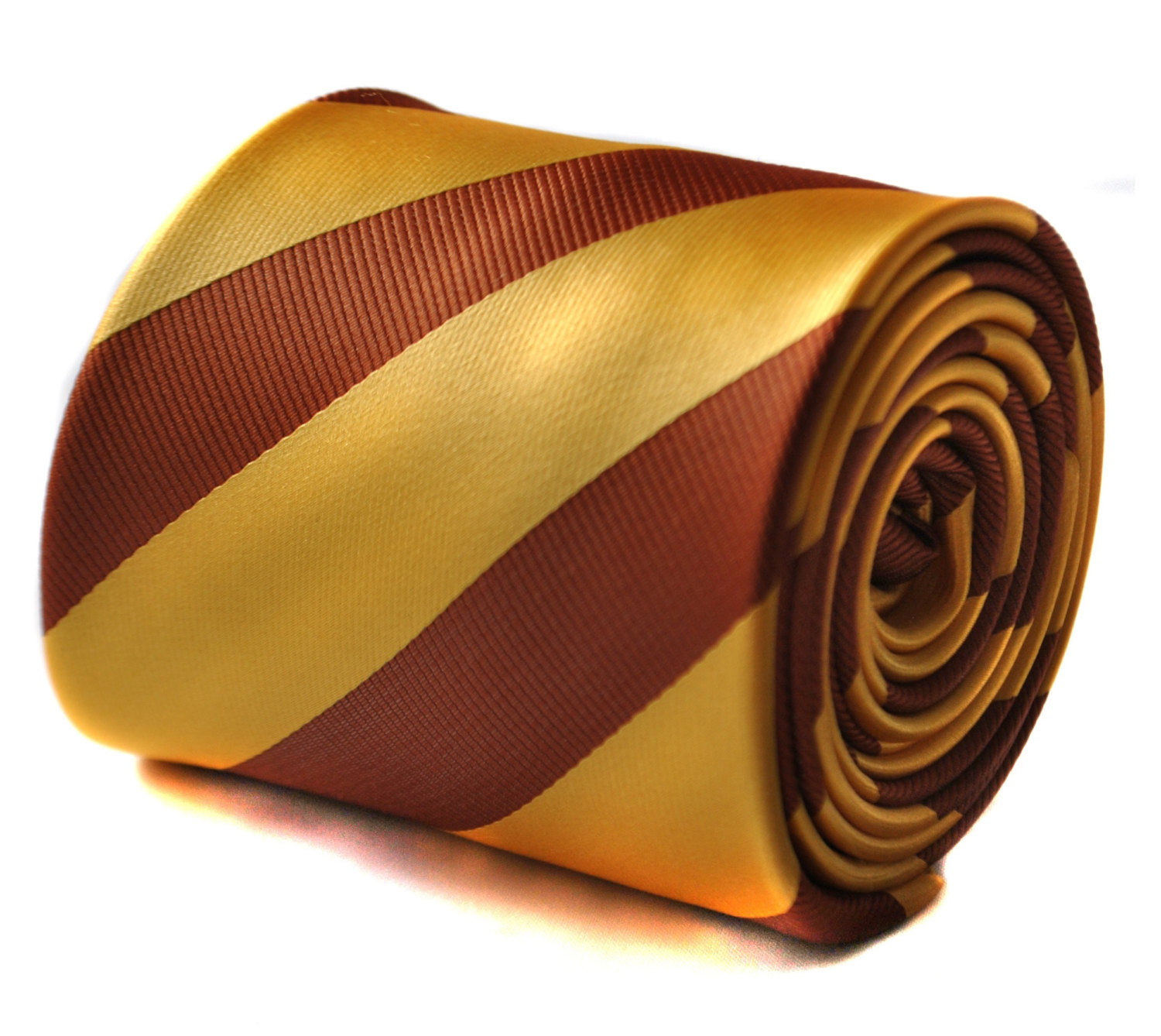 Yellow gold and chocolate brown barber striped tie with floral design to the rea