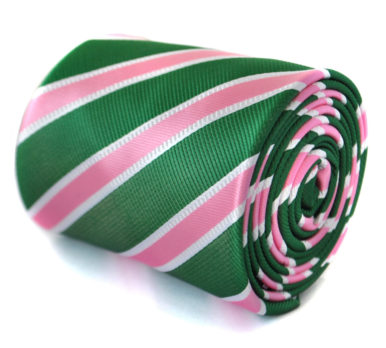green tie with pink and white club stripes with signature floral design to rear
