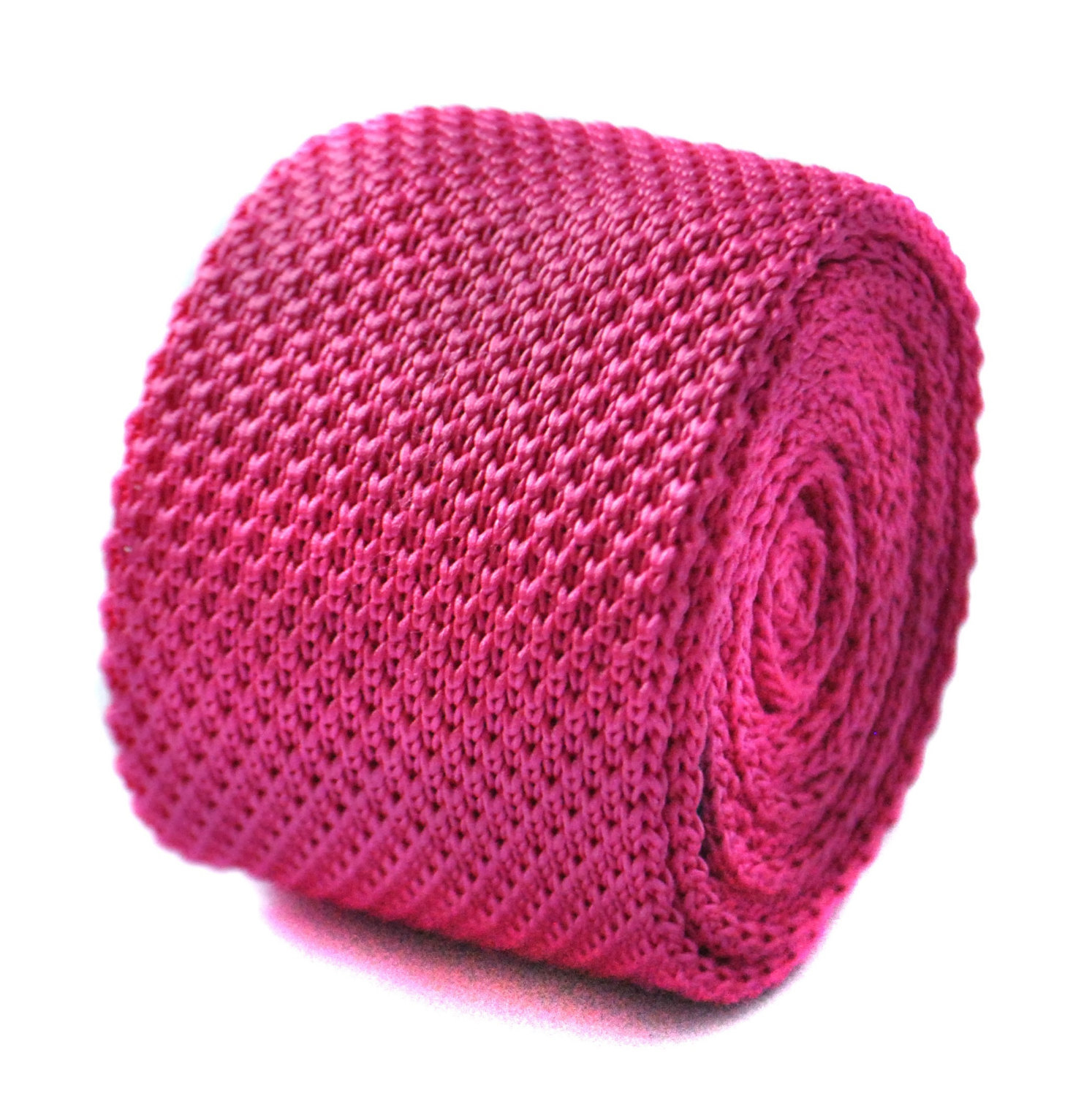 Plain knitted bright fuchsia pink skinny tie with pointed end by Frederick Thoma