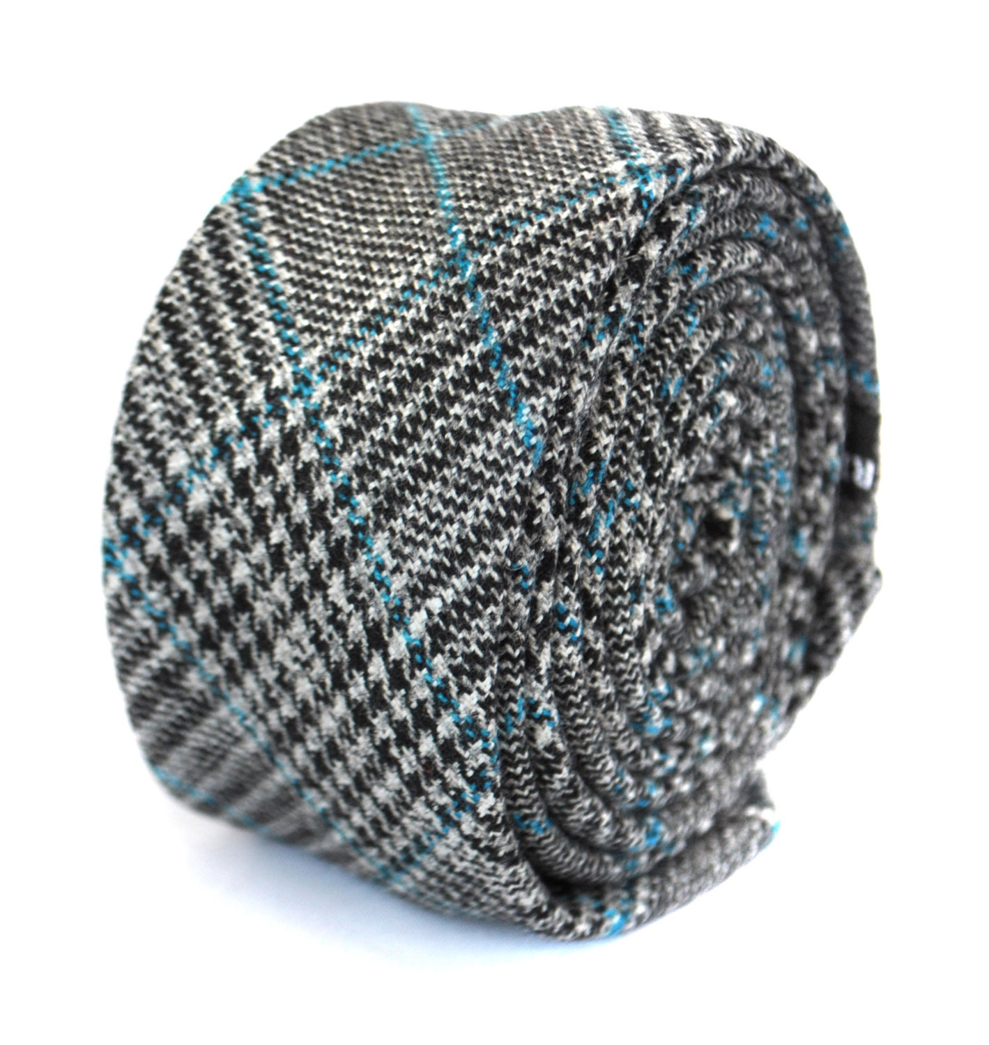skinny grey & light blue tweed wool tie by Frederick Thomas FT1952
