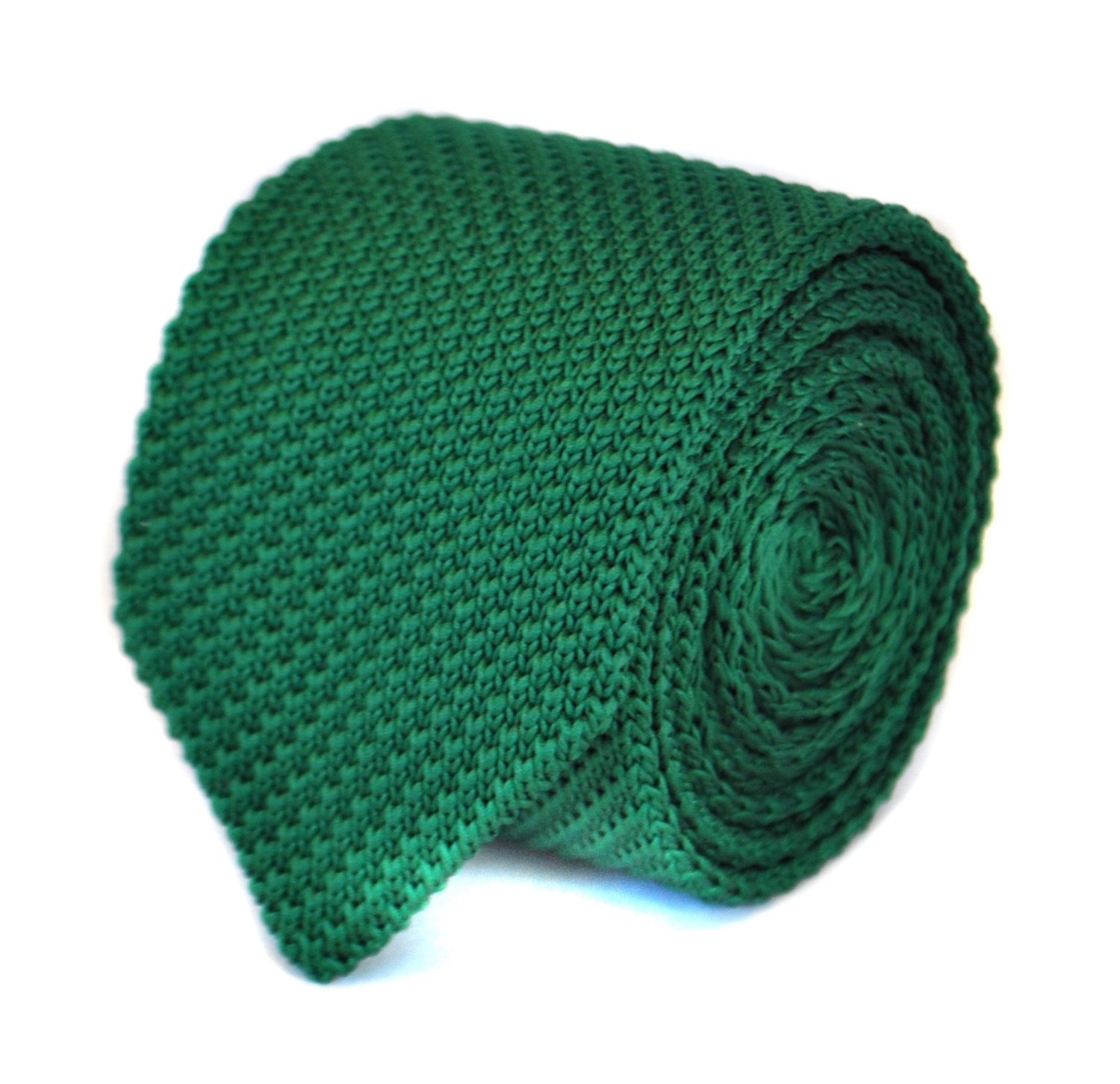 plain dark green knitted tie in standard slim 8cm width with pointed end by Fred