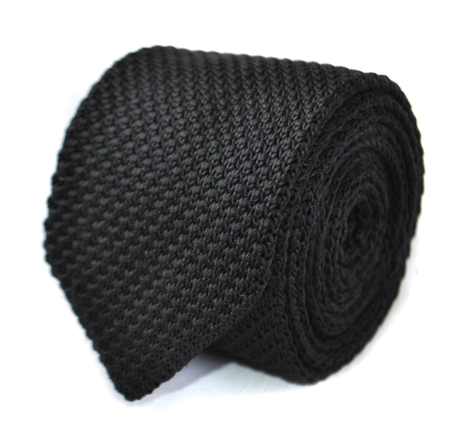 Plain black knitted tie with pointed end in standard 8cm width by Frederick Thom