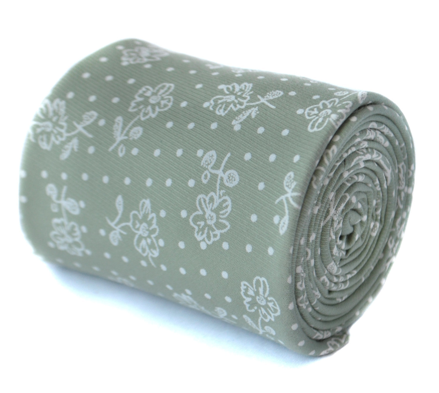 sage green floral 100% cotton linen tie by Frederick Thomas FT2088