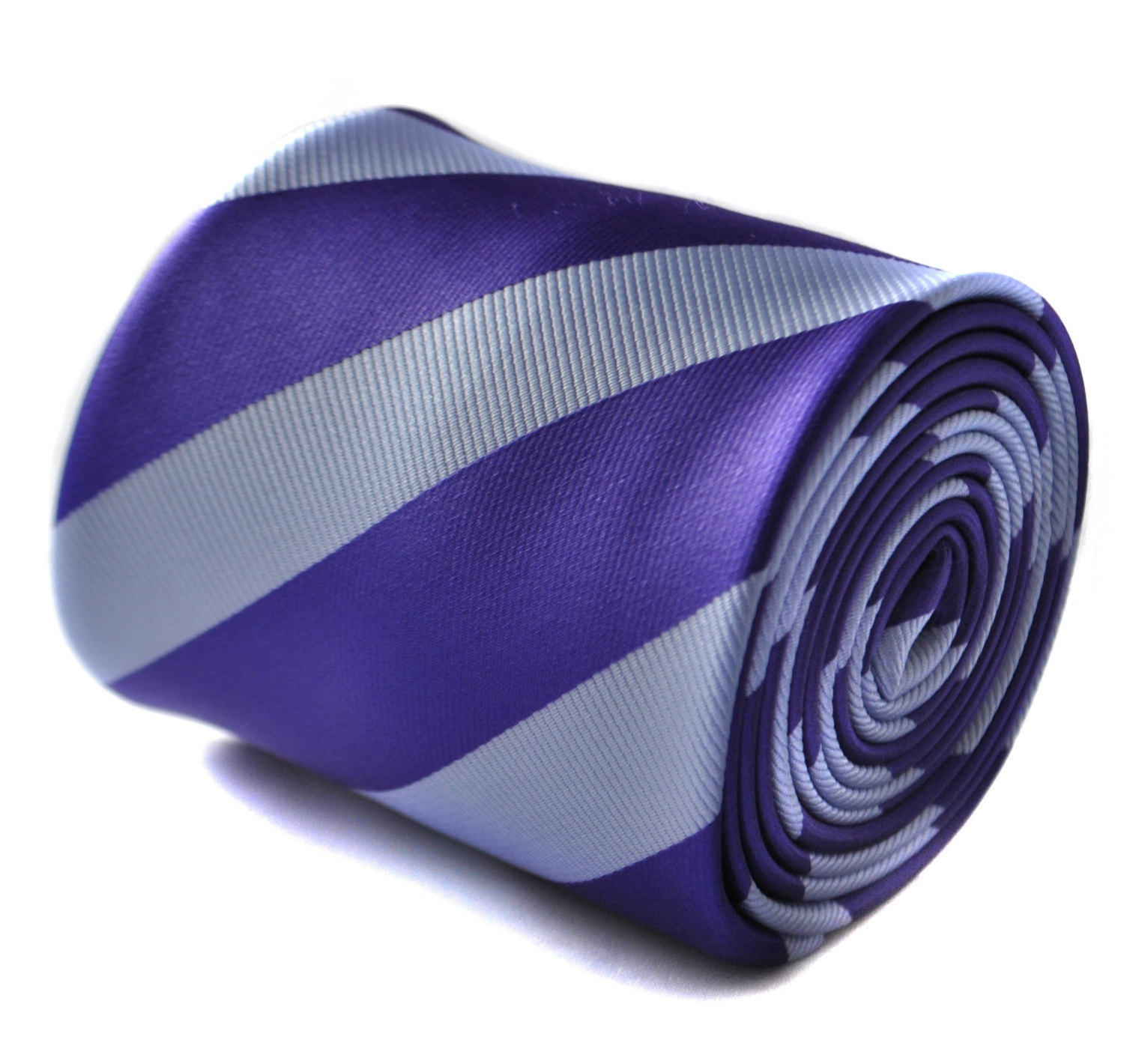 cadbury purple and light blue barber striped tie with signature floral design to