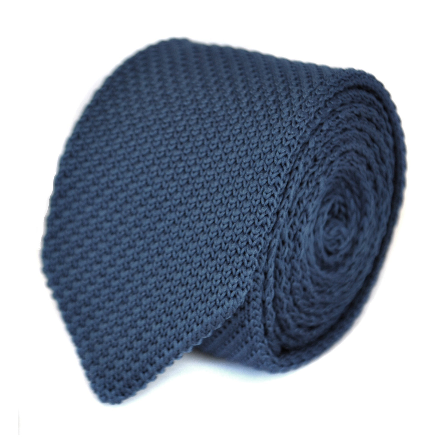navy blue plain knitted tie with pointed end by Frederick Thomas FT1860a in stan
