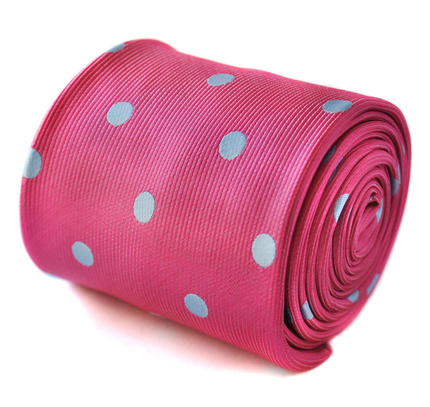 bright pink and light blue polka spot tie with signature floral design to the re