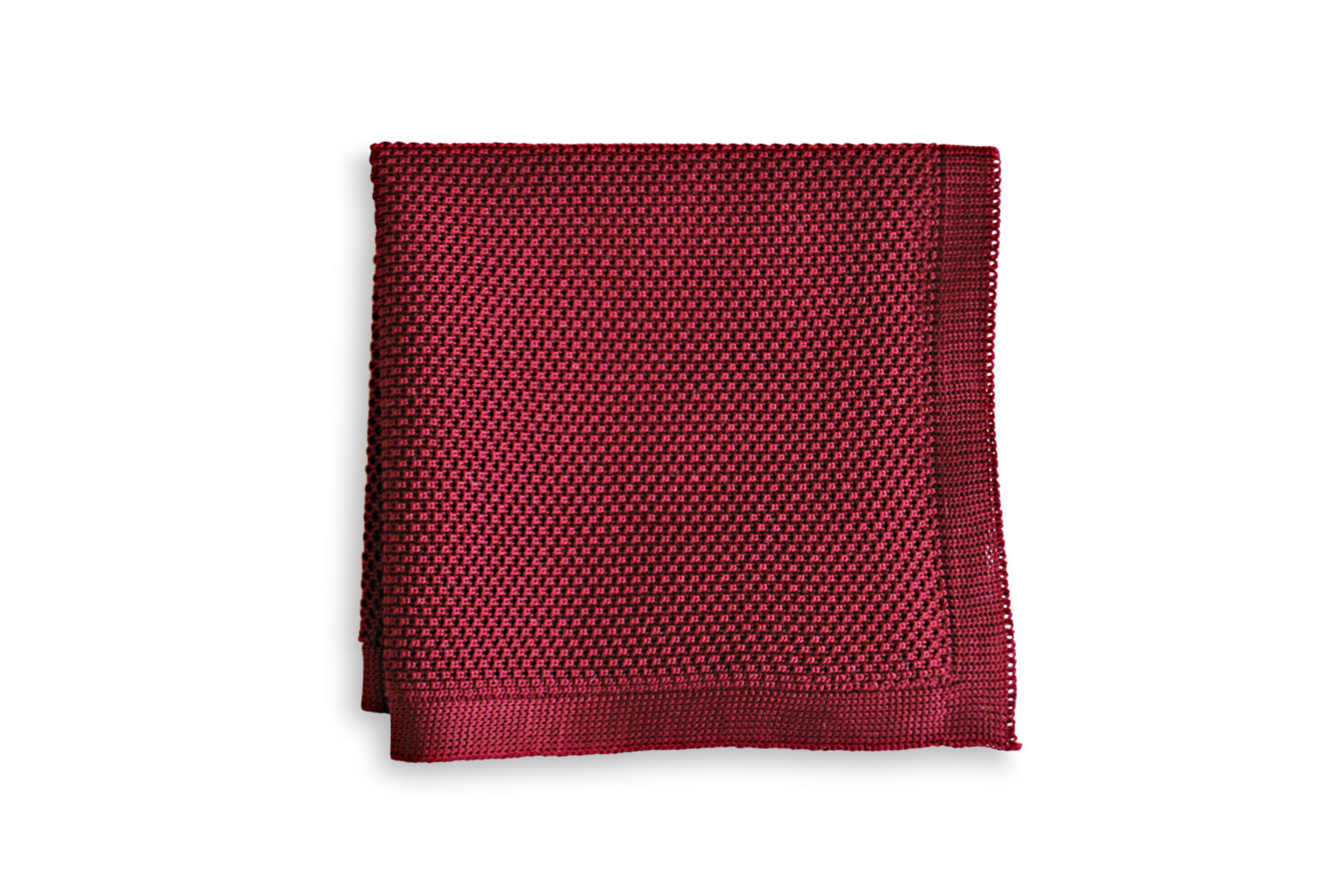 Frederick Thomas knitted plain maroon pocket square FT3161