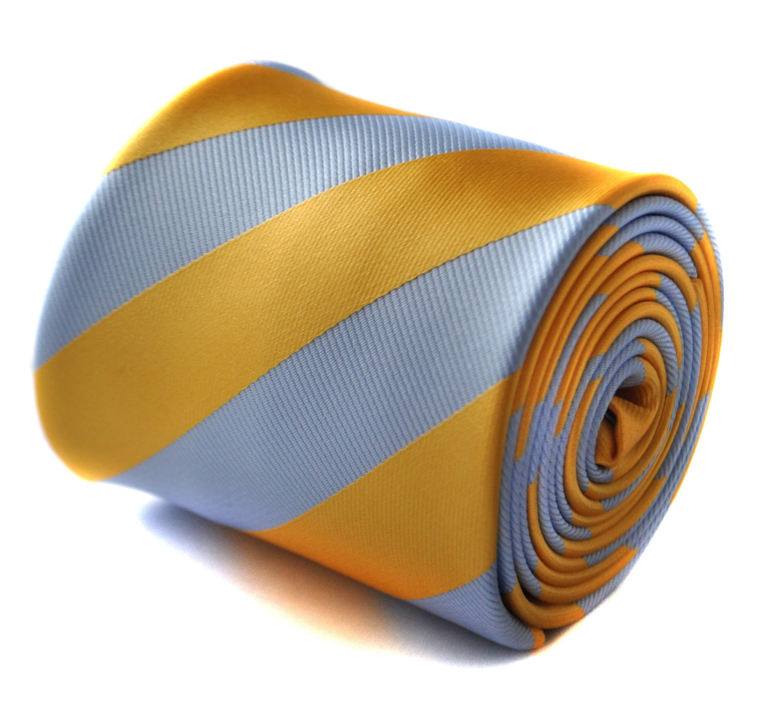 light blue and yellow gold barber striped tie with signature floral design to th