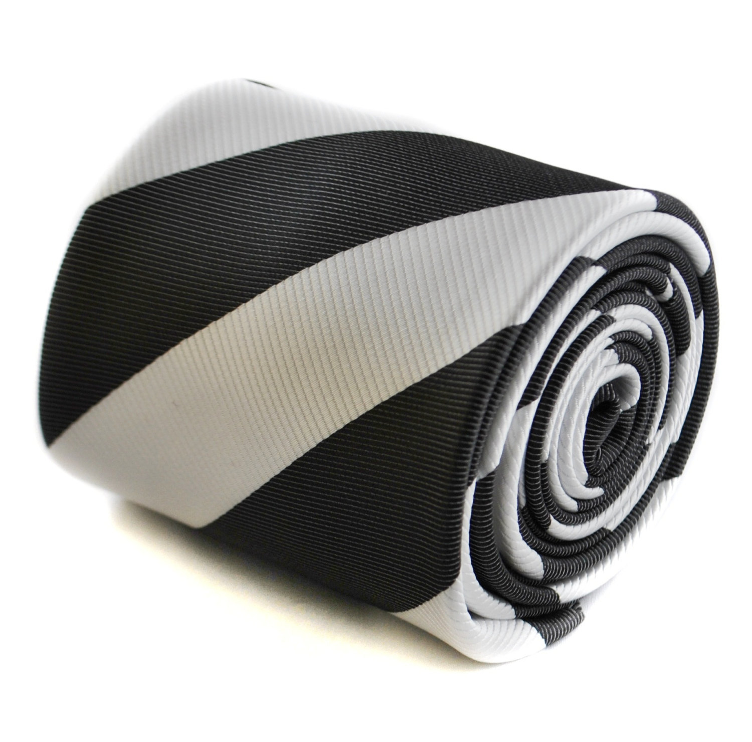 black and white barber striped tie with floral design to the rear by Frederick T