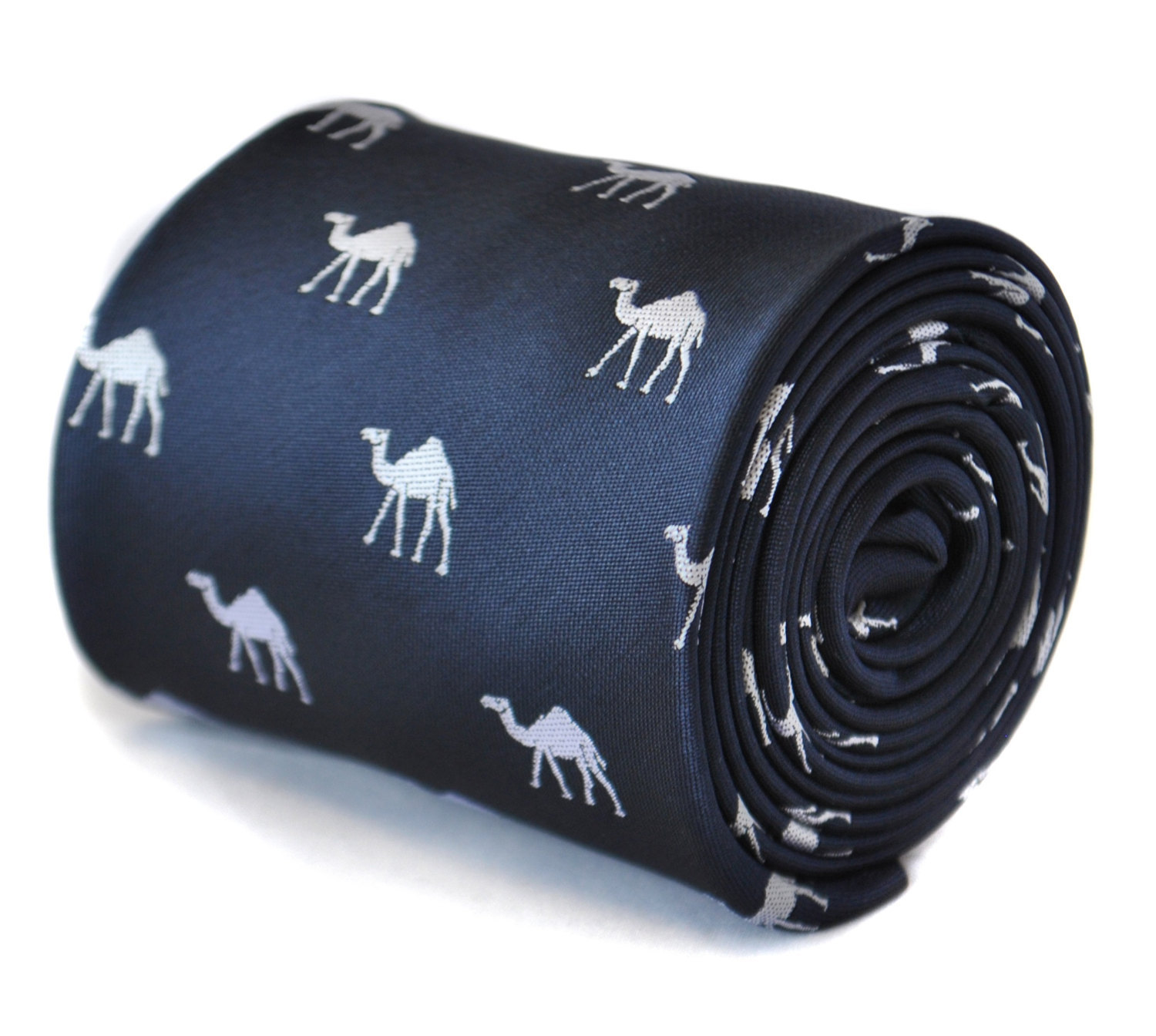 Navy tie with Camel design with signature floral design to the rear by Frederick