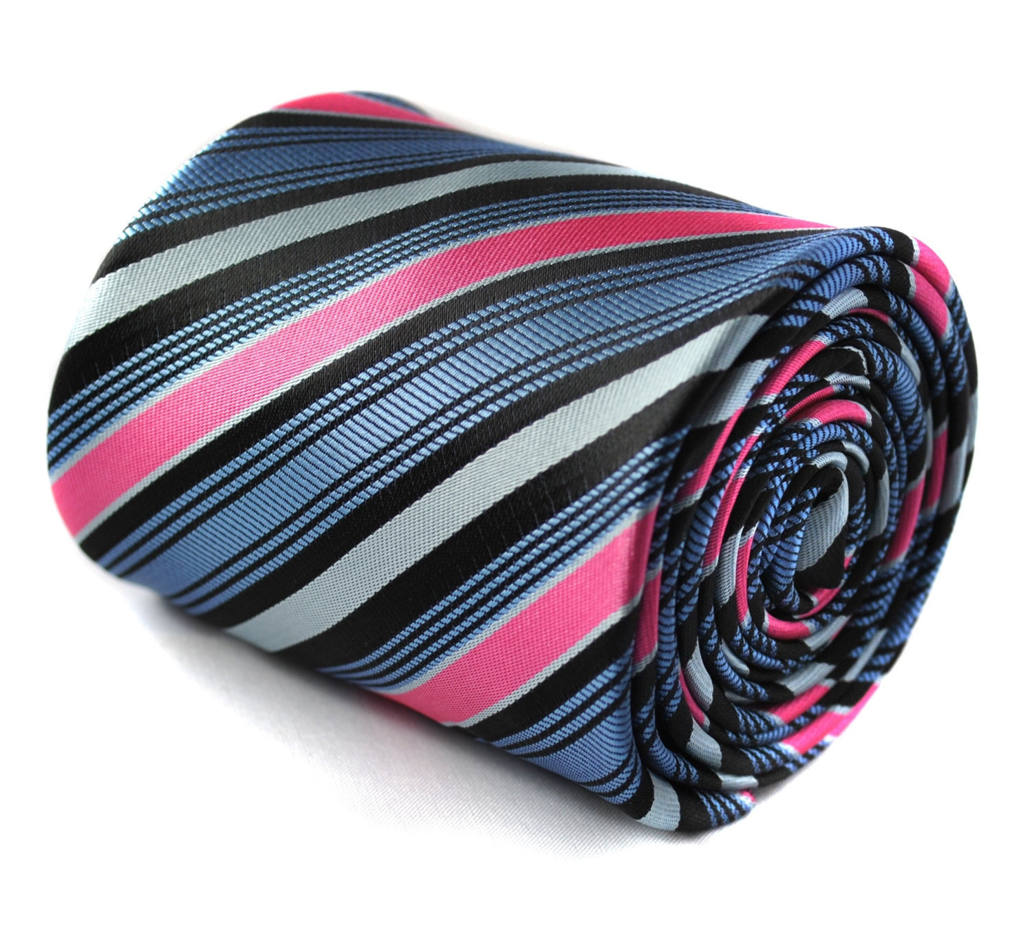 purple, pink, grey and light blue striped tie with signature floral design to th
