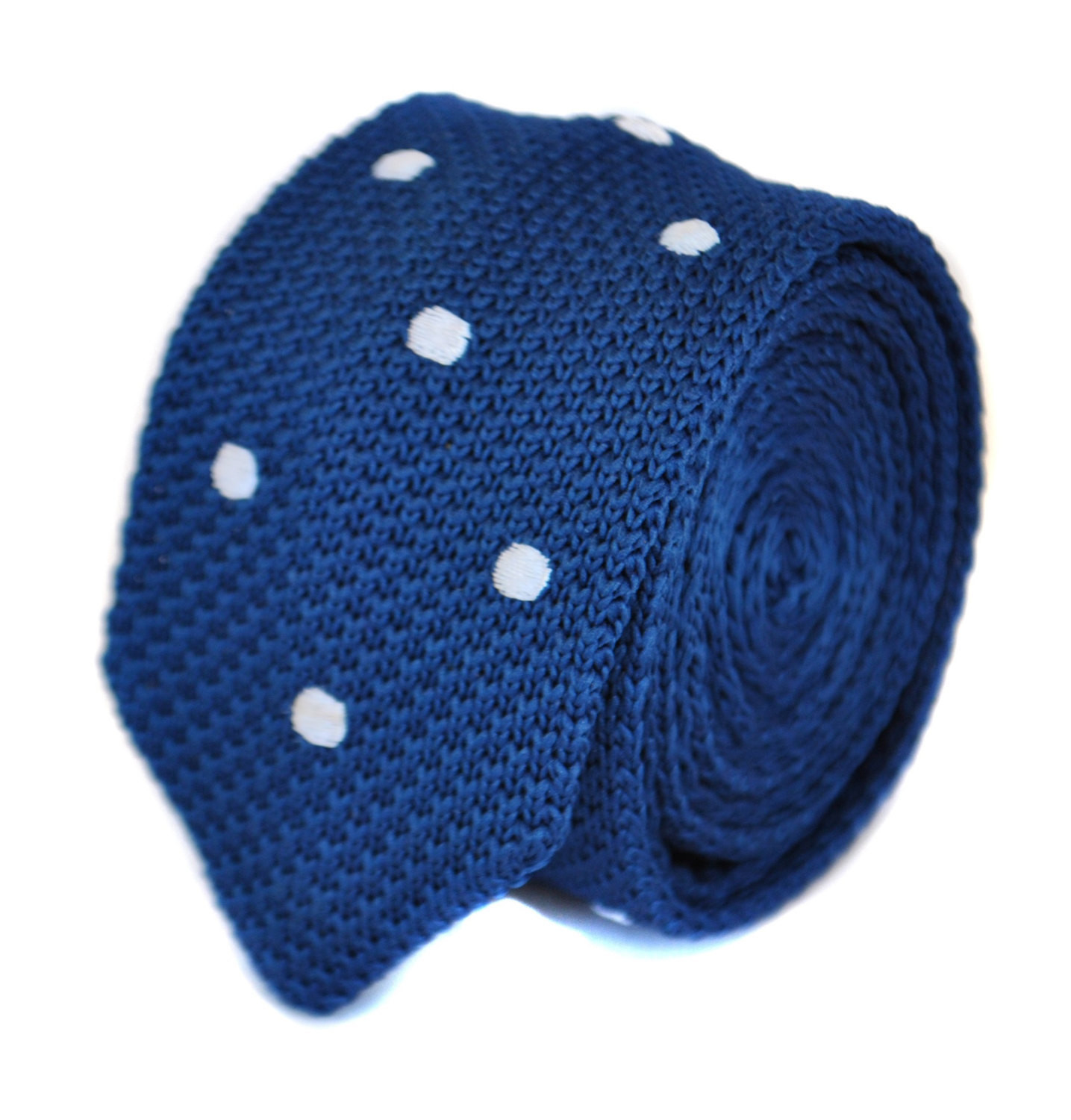 skinny navy blue knitted tie with white polka spots by Frederick Thomas FT1861