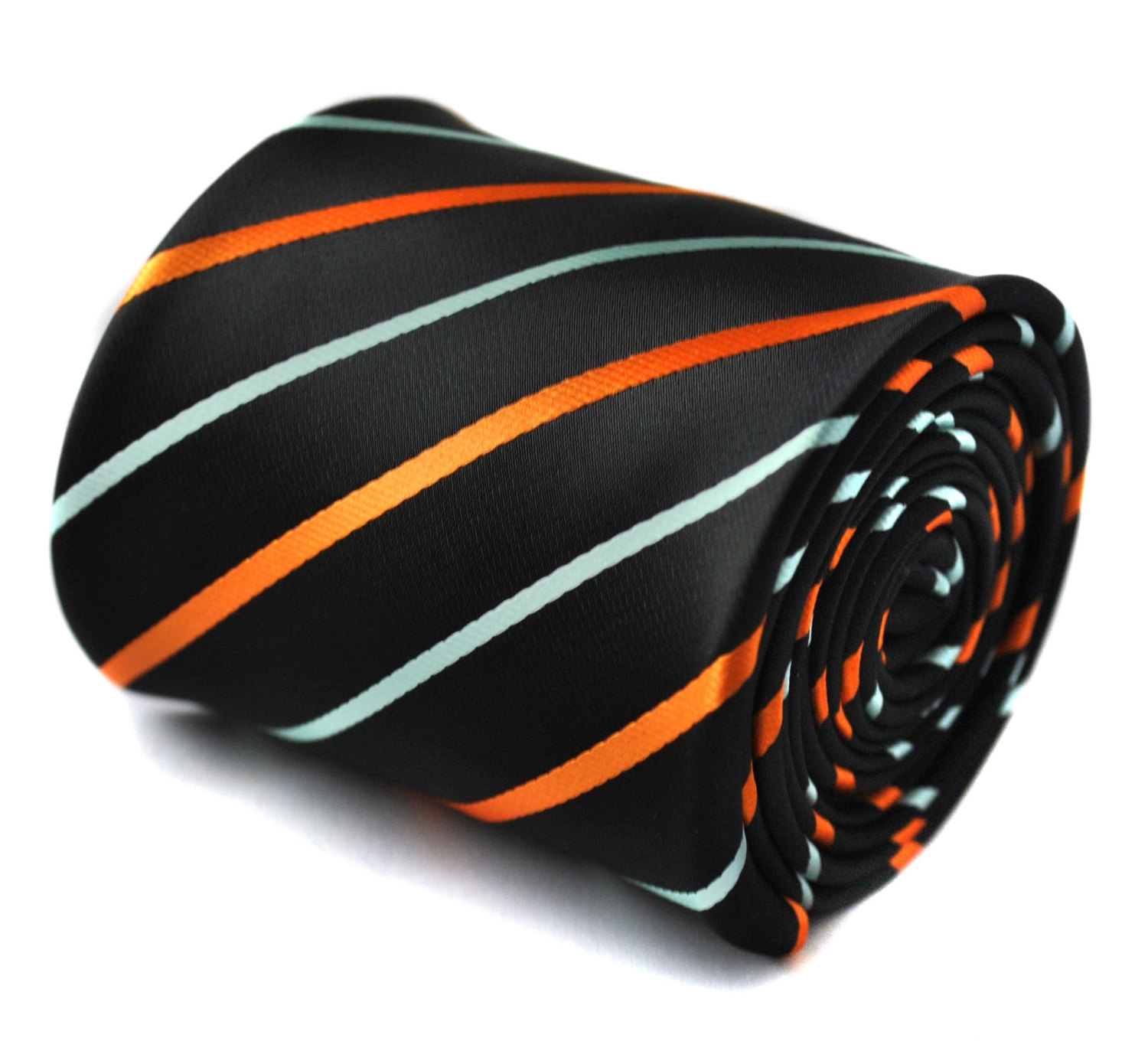 navy tie with orange and light blue stripes with signature floral design to the