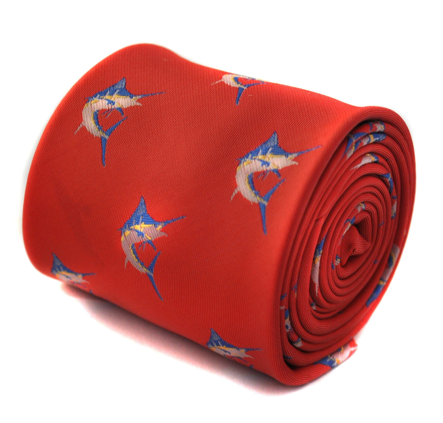 red tie with swordfish embroidered design with signature floral design to the re